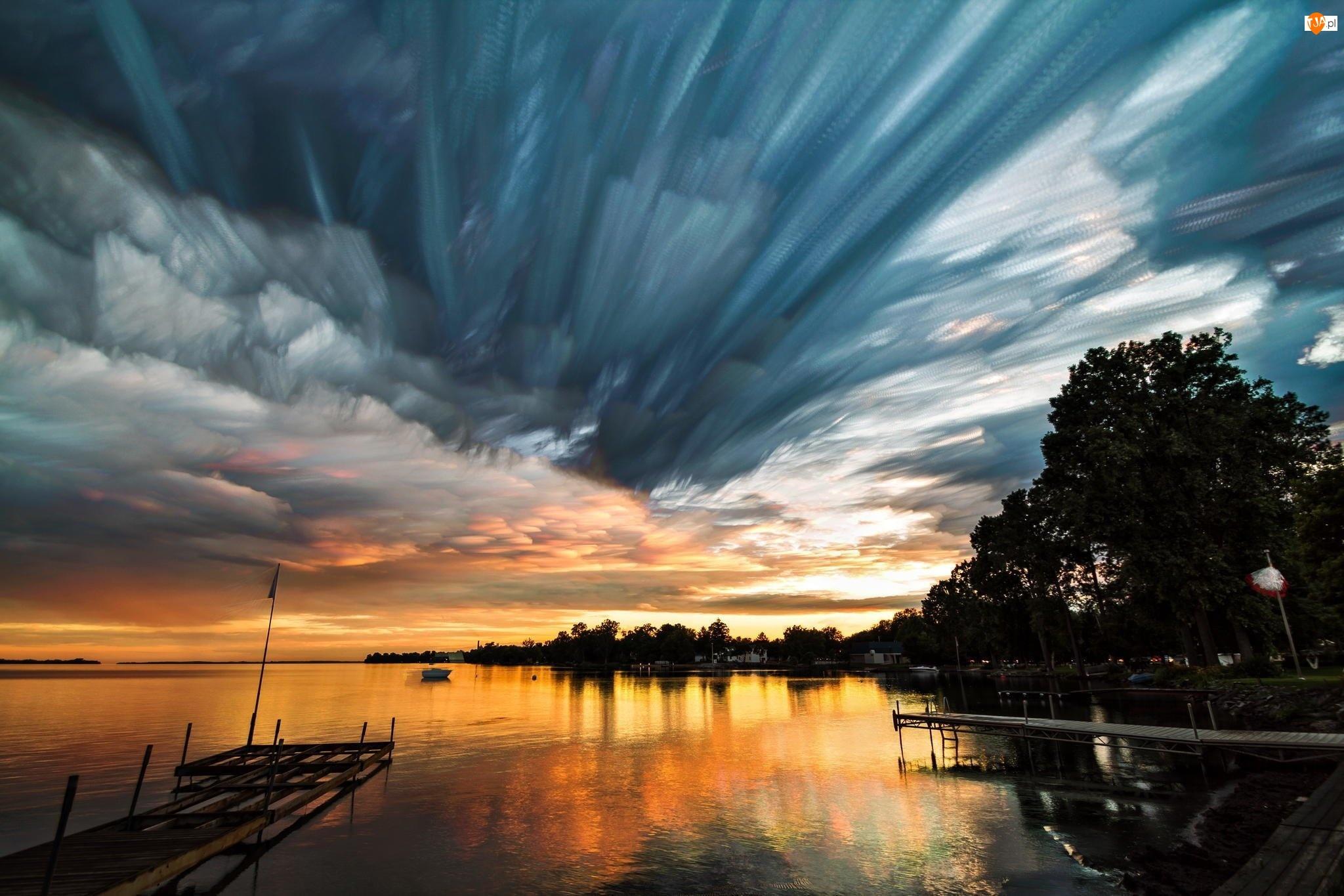 Niebo, Drzewa, Zachód słońca, Jezioro, Chmury