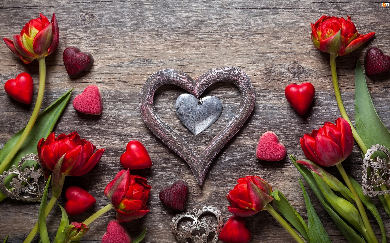 Kompozycja, Tulipany, Serduszka