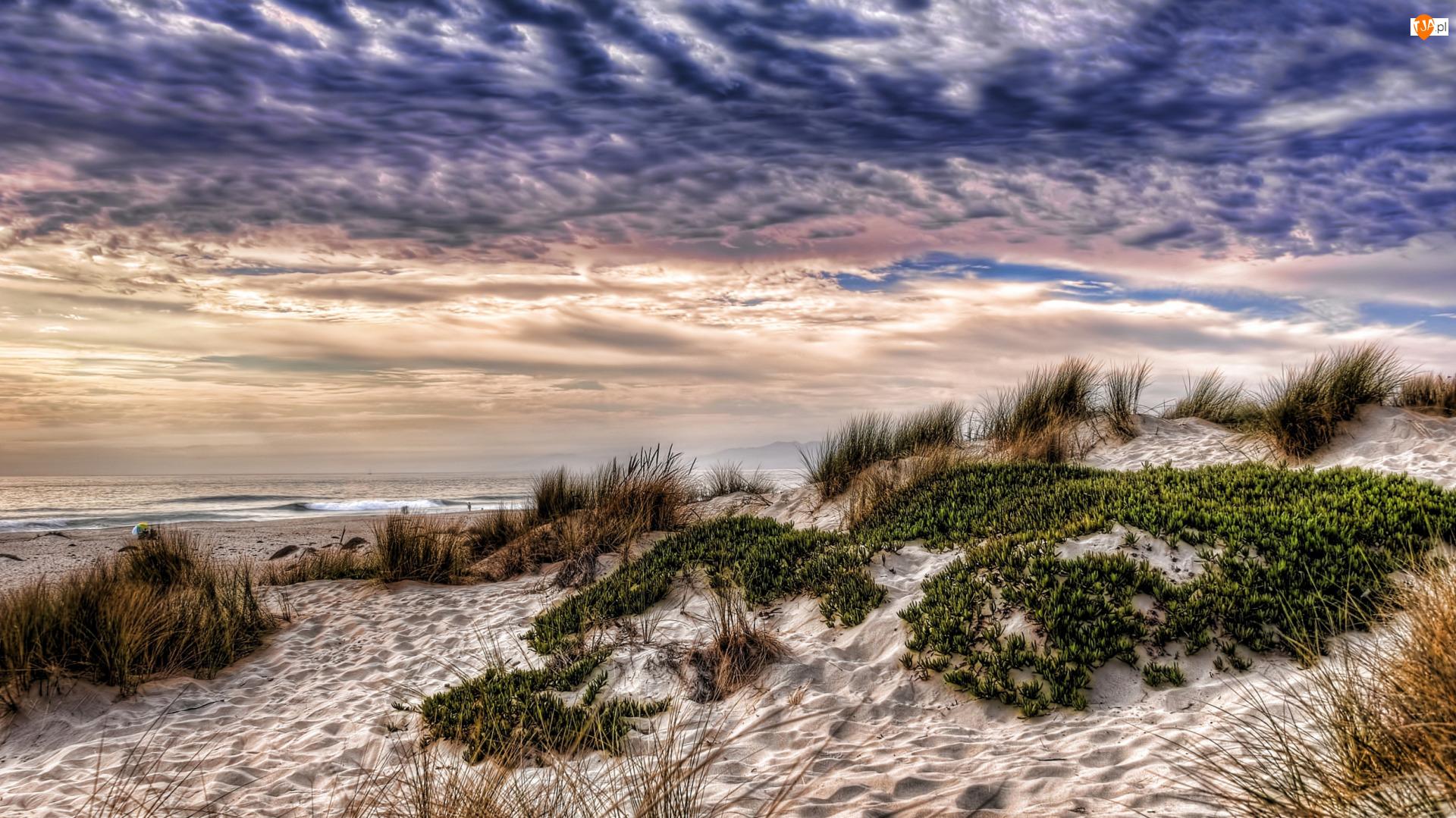 Kalifornia, Oxnard, Piasek, Stany Zjednoczone, Chmury, Morze, Plaża
