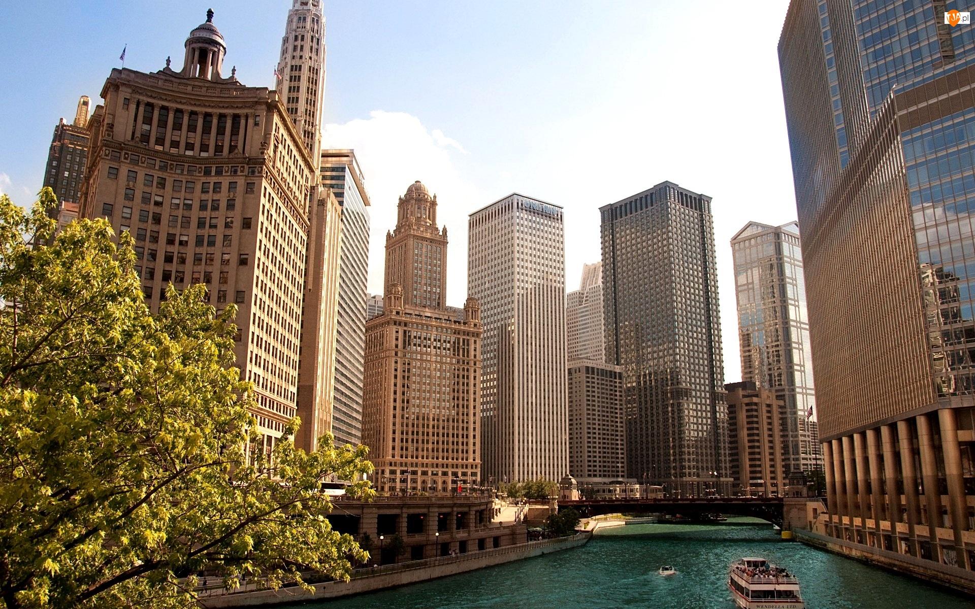 USA, Wieżowce, Rzeka, Chicago