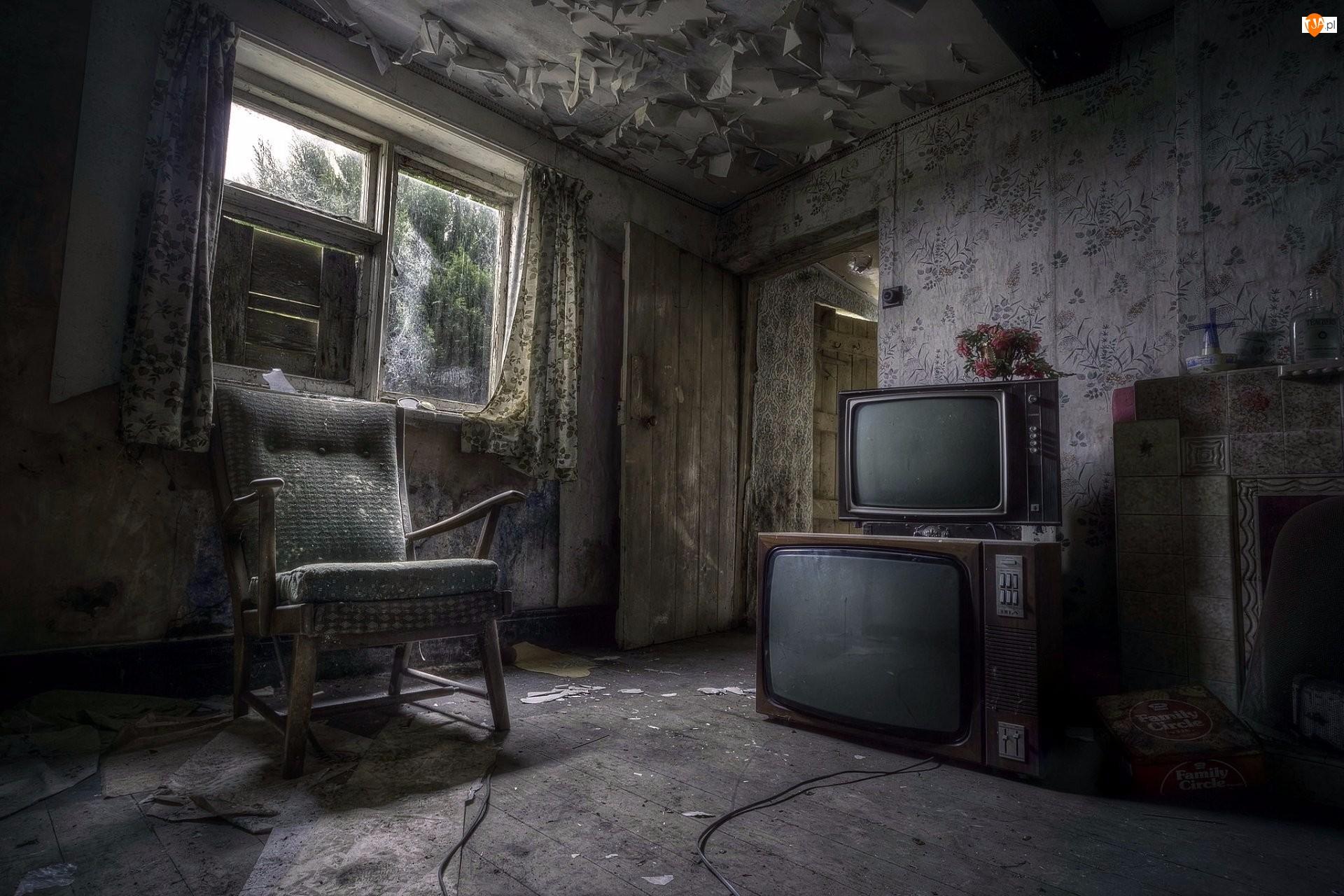 Fotel, Zaniedbany, Pokój, Telewizor