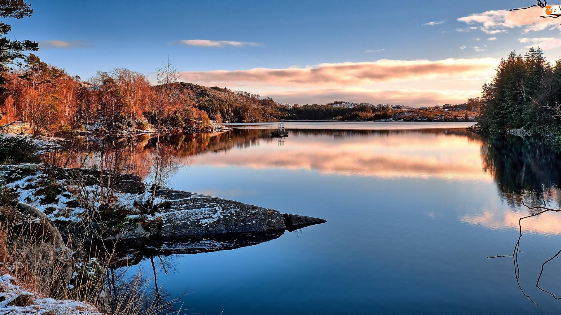 Wzgórza, Jezioro, Drzewa, Jesień