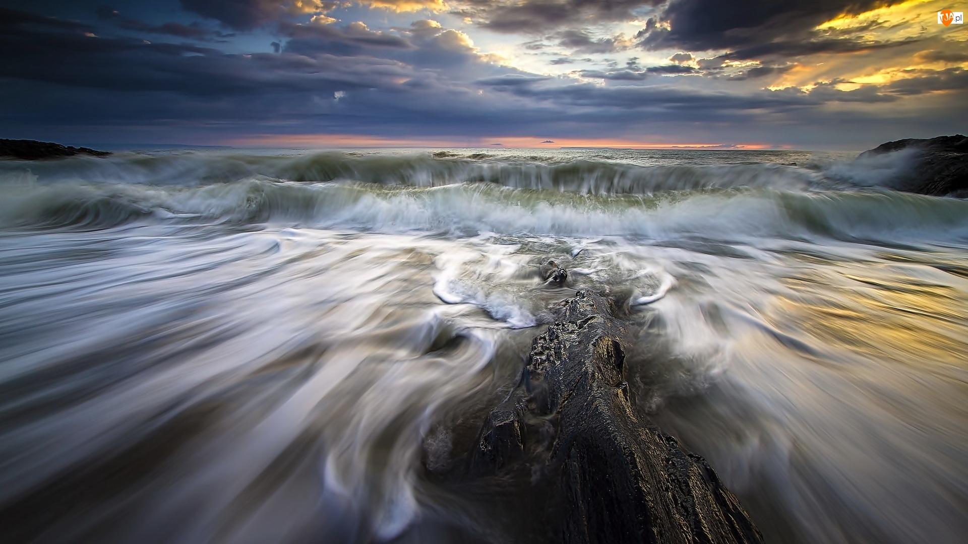 Chmury, Morze, Fale, Skały