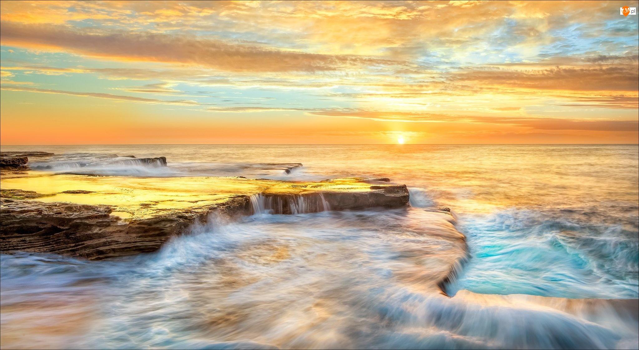 Zachód słońca, Australia, Niebo, Morze, Wybrzeże