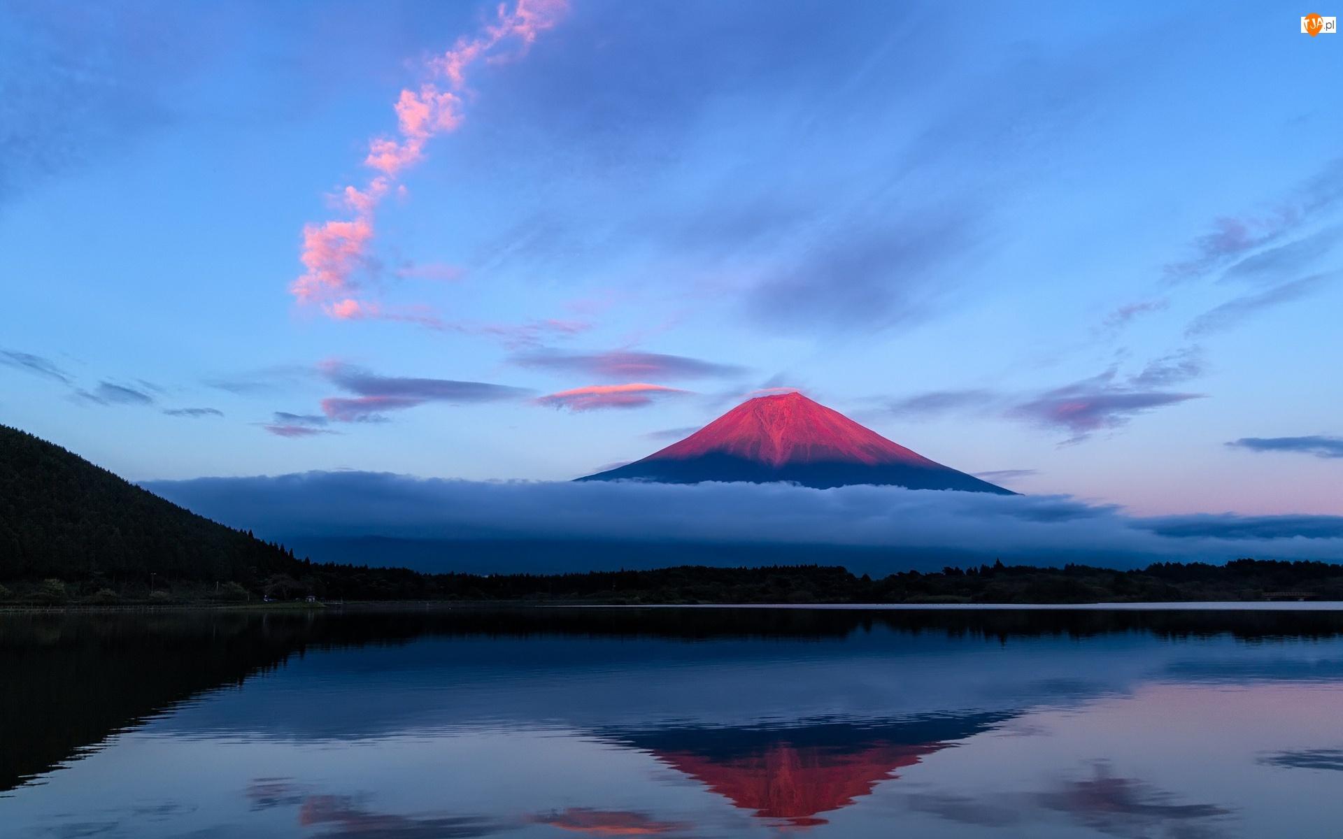 Japonia, Fudżi, Jezioro, Mgła