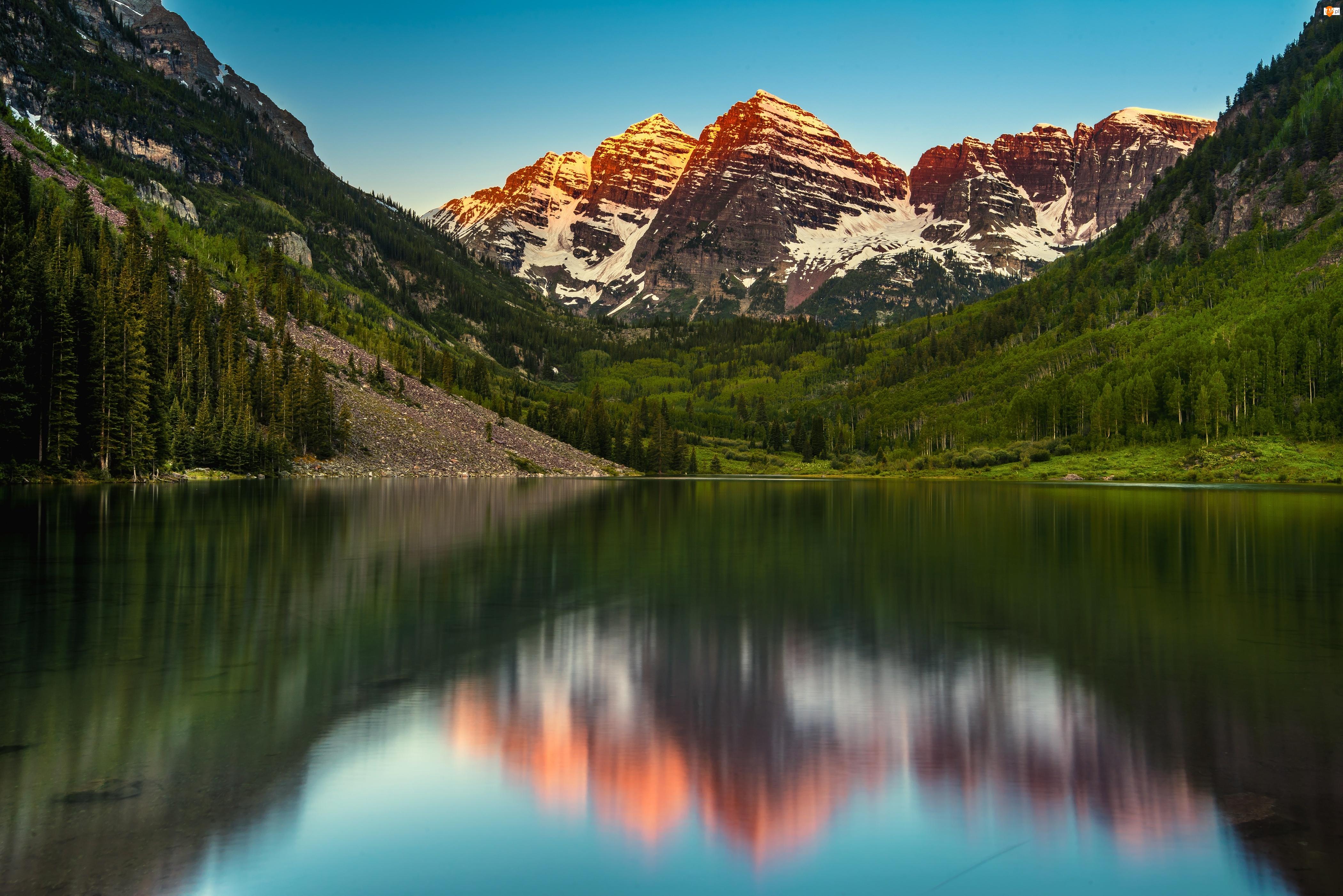 Odbicie, Góry, Jezioro, Drzewa