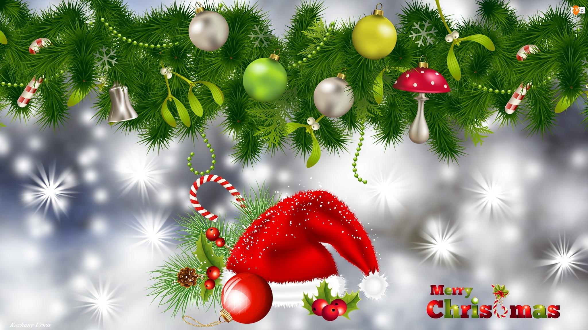 Mikołaja, Boże Narodzenie, Bombki, Gałązki, Świąteczna, Czapka, Grafika 2D, Kompozycja
