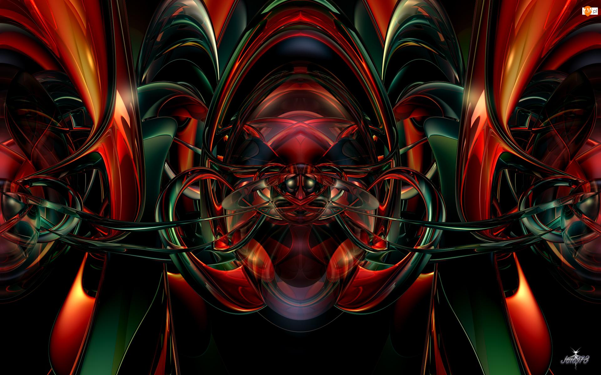 Abstrakcja, Grafika 3D, Czerwono-zielona