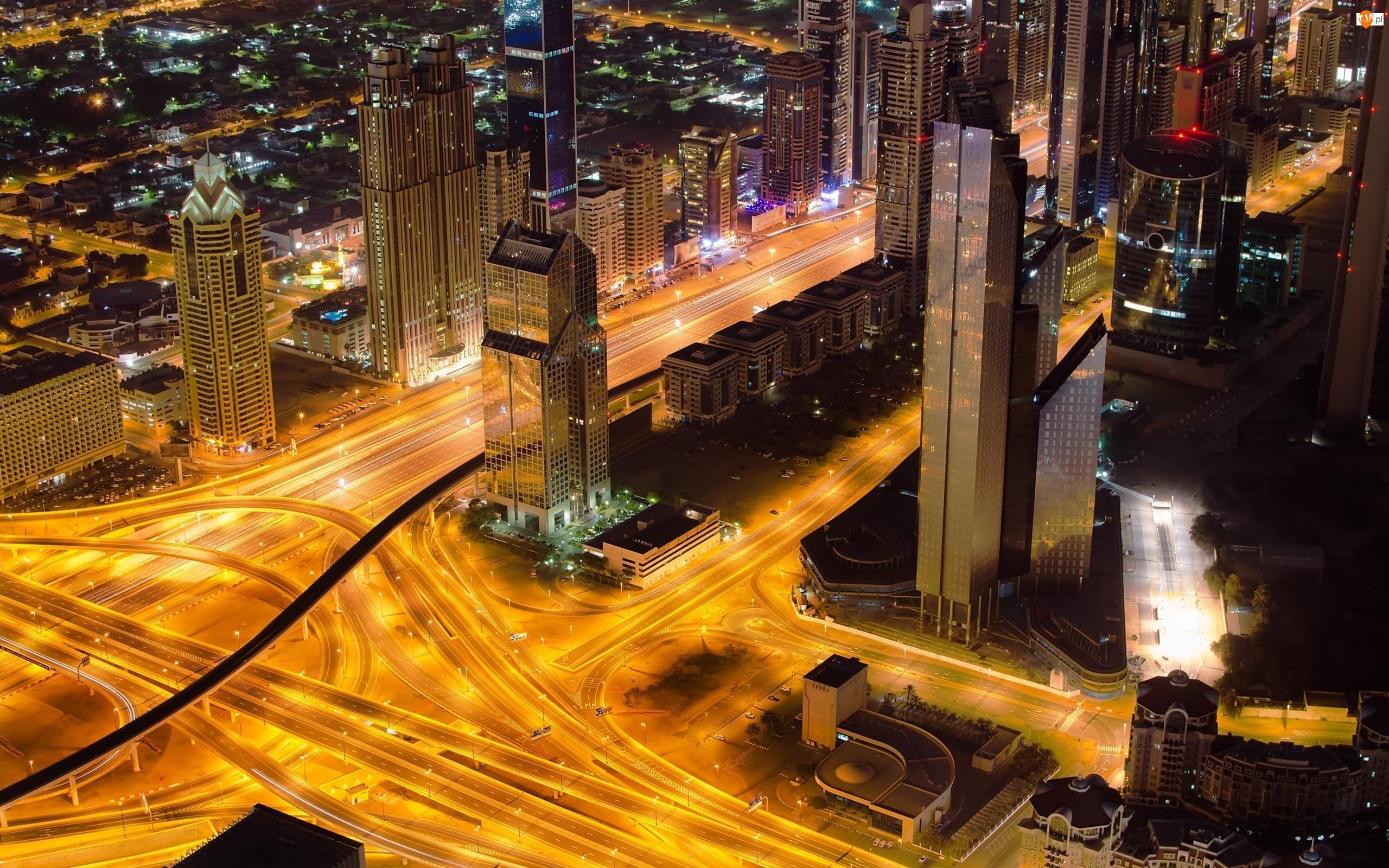 Chmur, Ulice, Dubaj, Drapacze, Noc, Miasta, Panorama