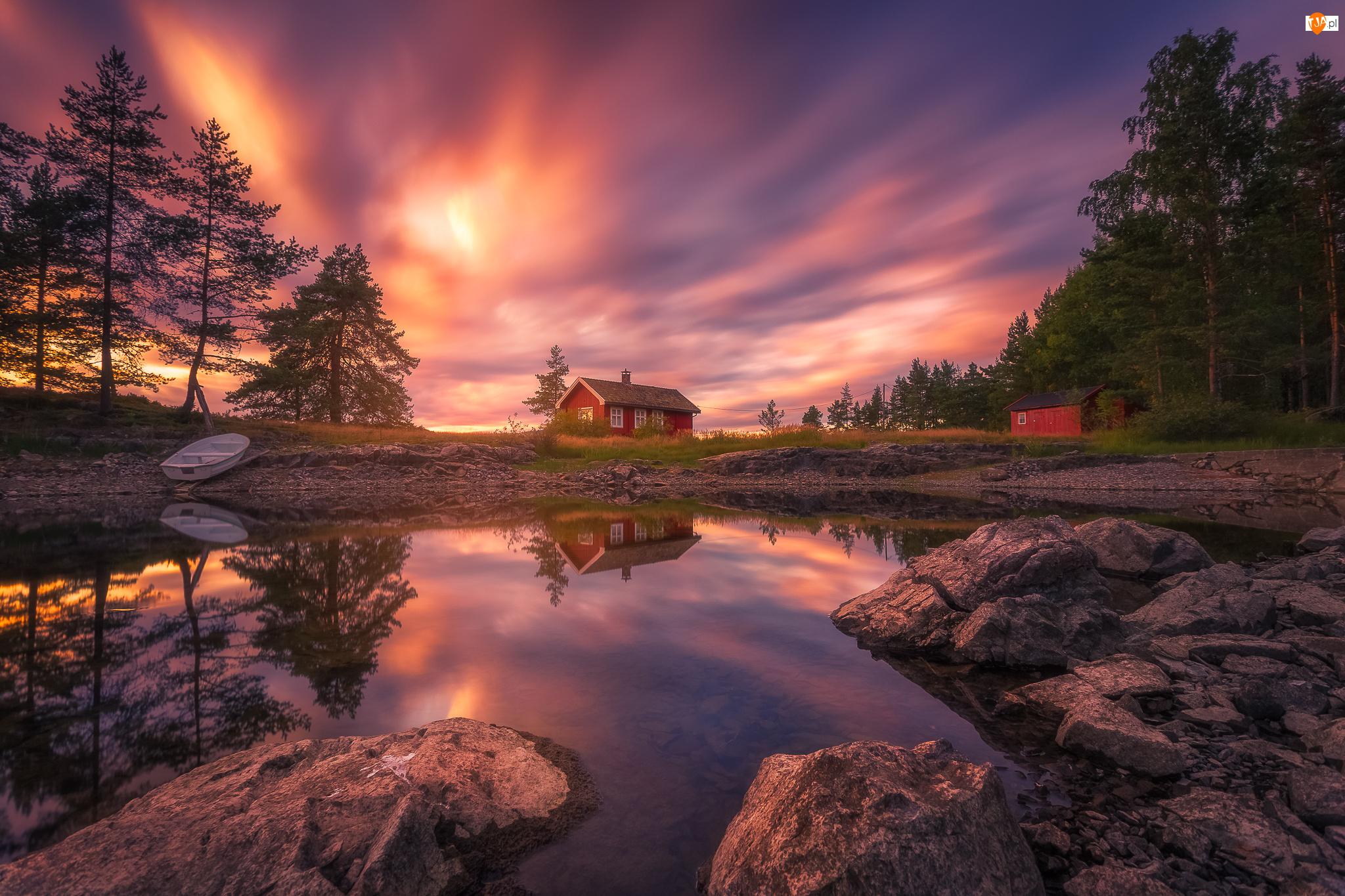 Ringerike, Jezioro Vaeleren, Dom, Norwegia, Łódka, Drzewa, Zachód słońca