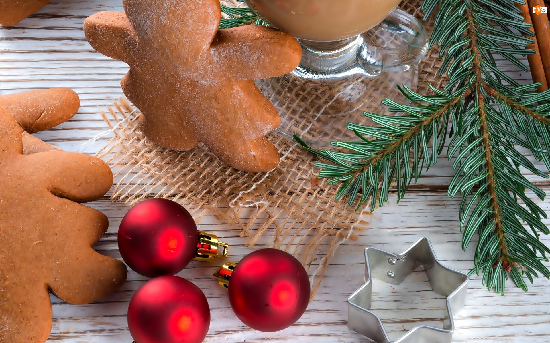 Pierniczki, Świerkowa, Bombki, Boże Narodzenie, Gałązka