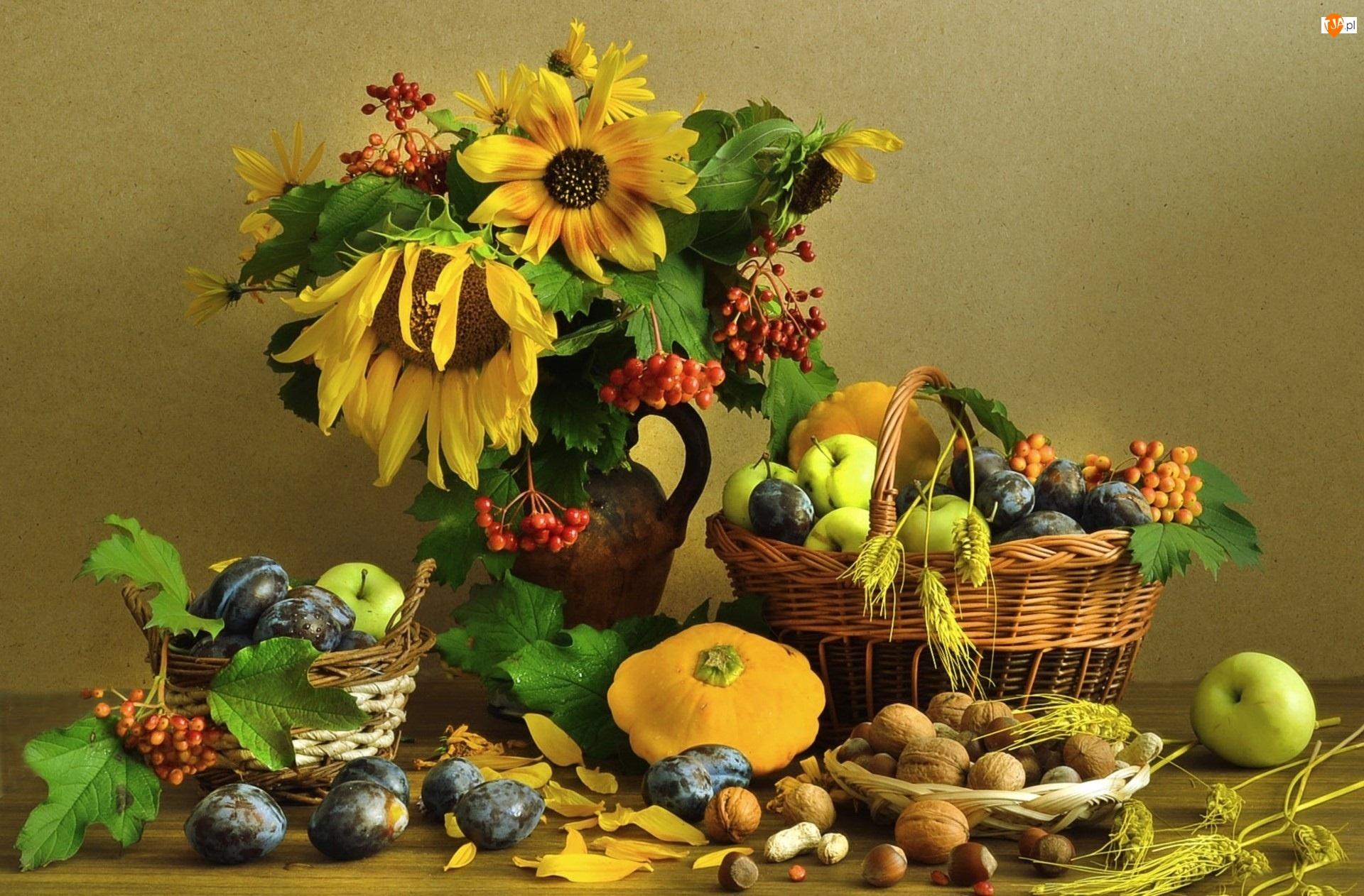 Sloneczniki, Warzywa, Bukiet, Kwiaty, Owoce