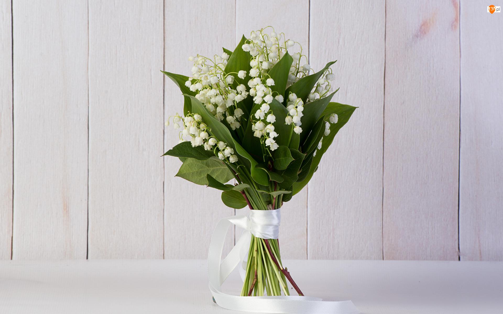 Bukiet, Deski, Konwalie majowe, Kwiaty, Wstążka biała