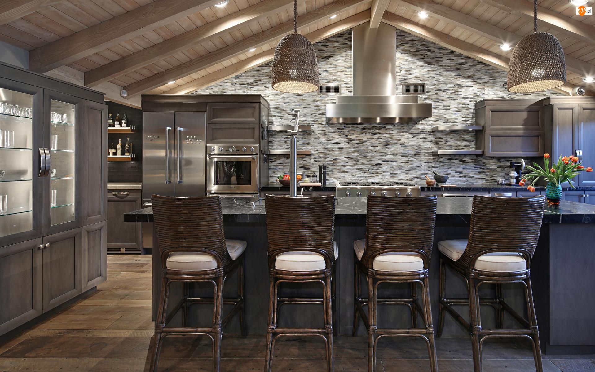 Krzesła, Kuchnia, Drewniany, Sufit