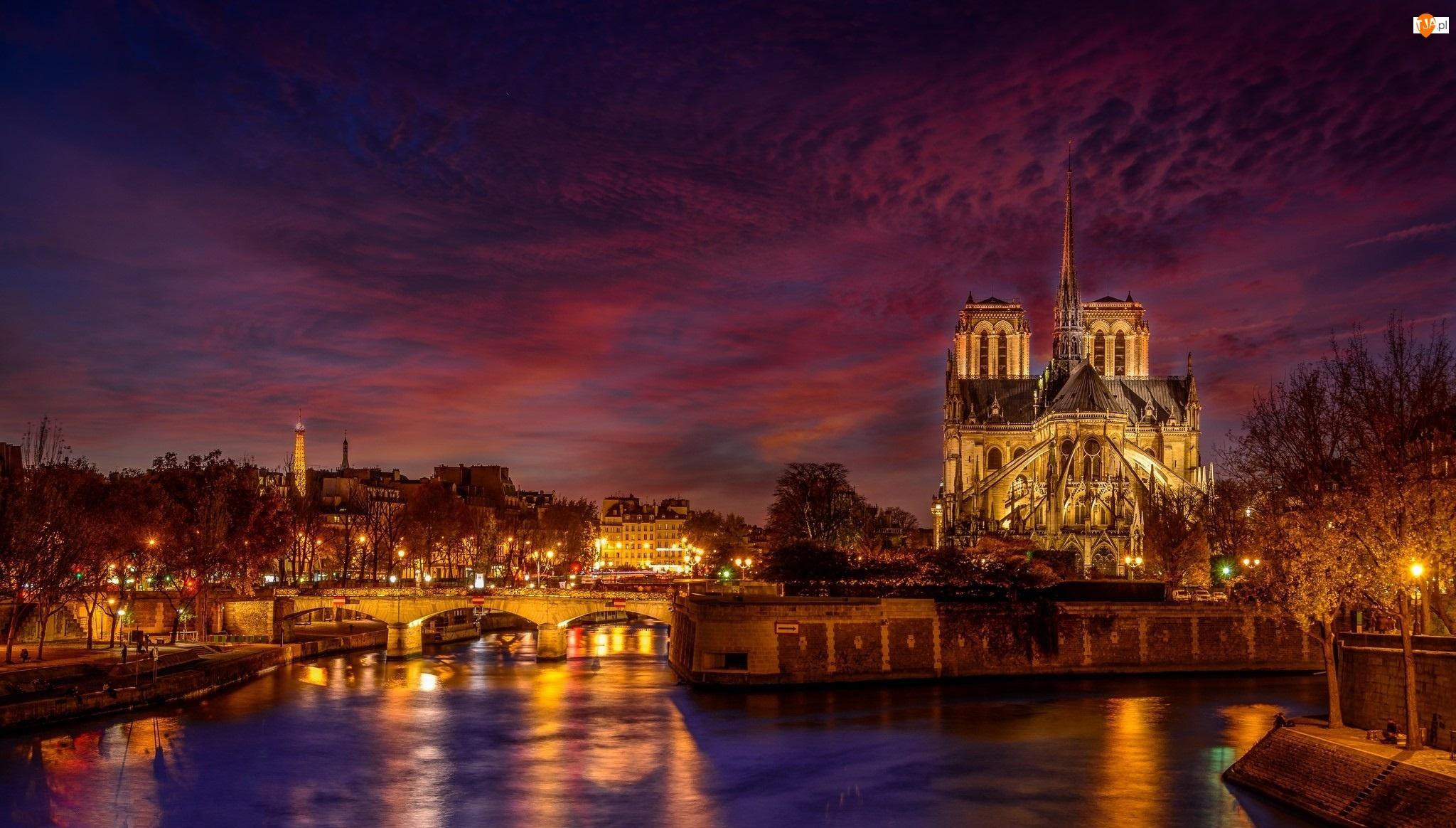 Paryż, Francja, Rzeka Sekwana, Most, Katedra Notre-Dame, Światła