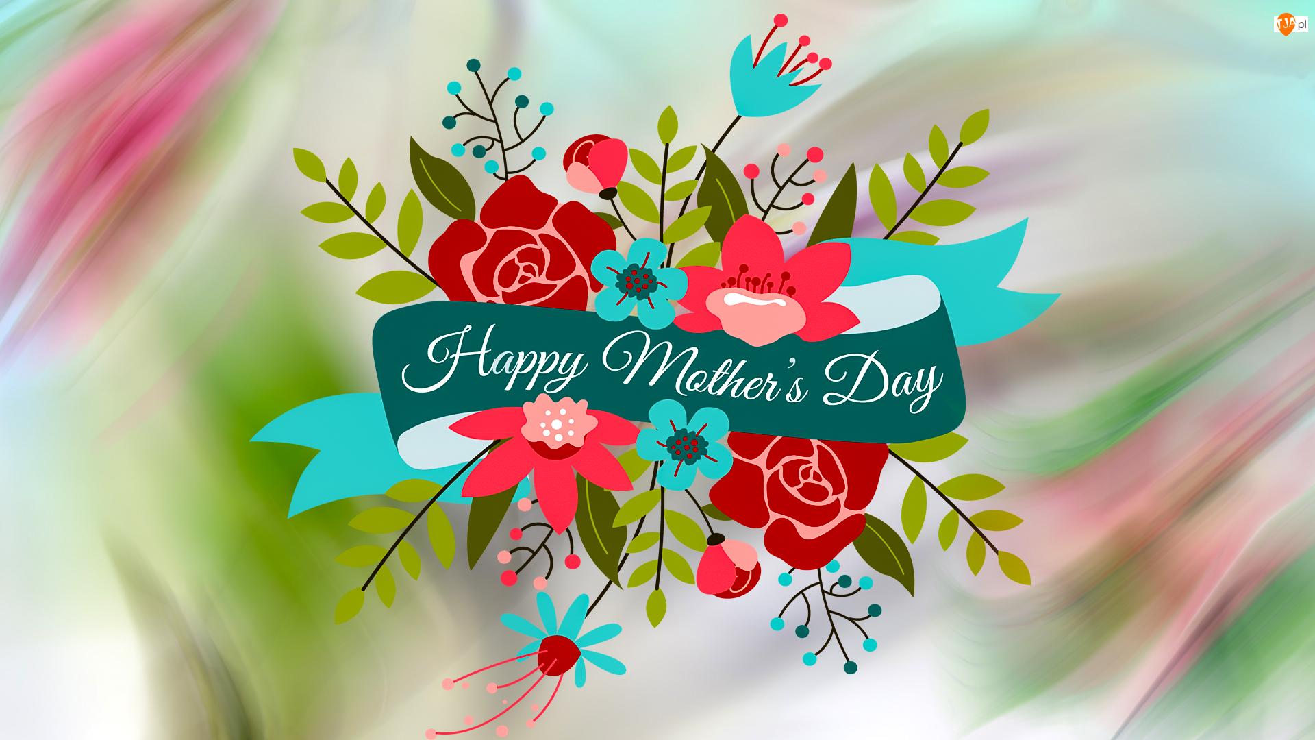 Dzień Matki, Grafika, Kwiaty, Napis