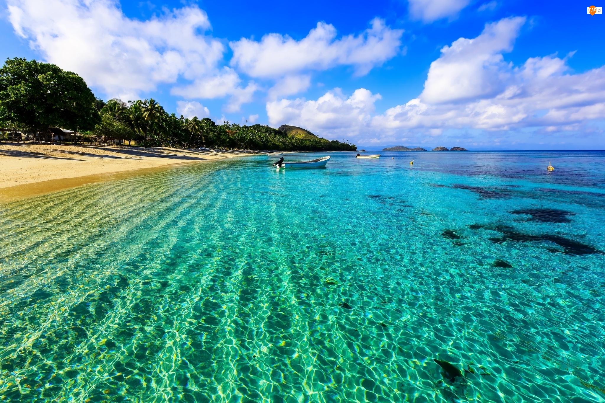 Wybrzeże, Morze, Łódki, Fidżi, Plaża, Wyspa Dravuni