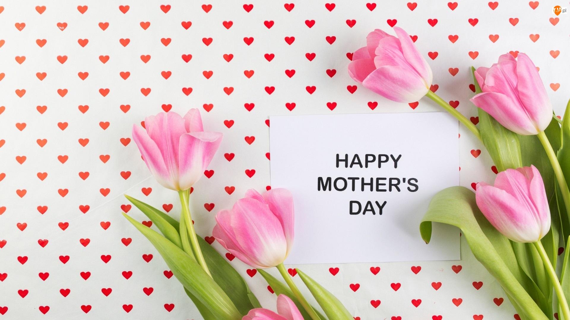 Kartka, Dzień Matki, Różowe, Serduszka, Napis, Tulipany