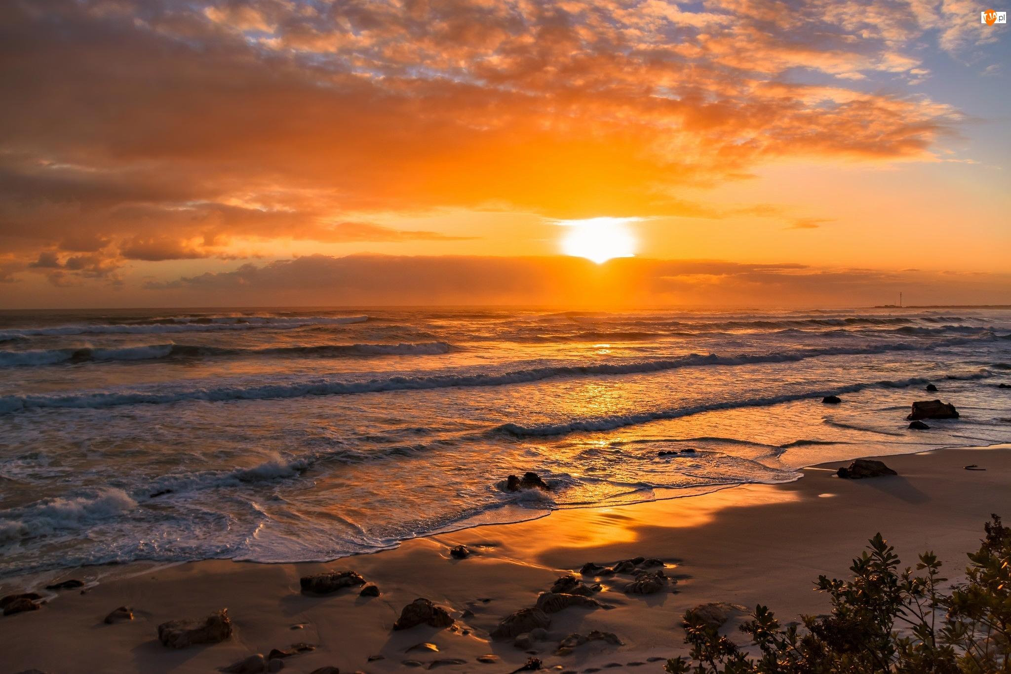 Zachód słońca, Morze, Brzeg, Piasek