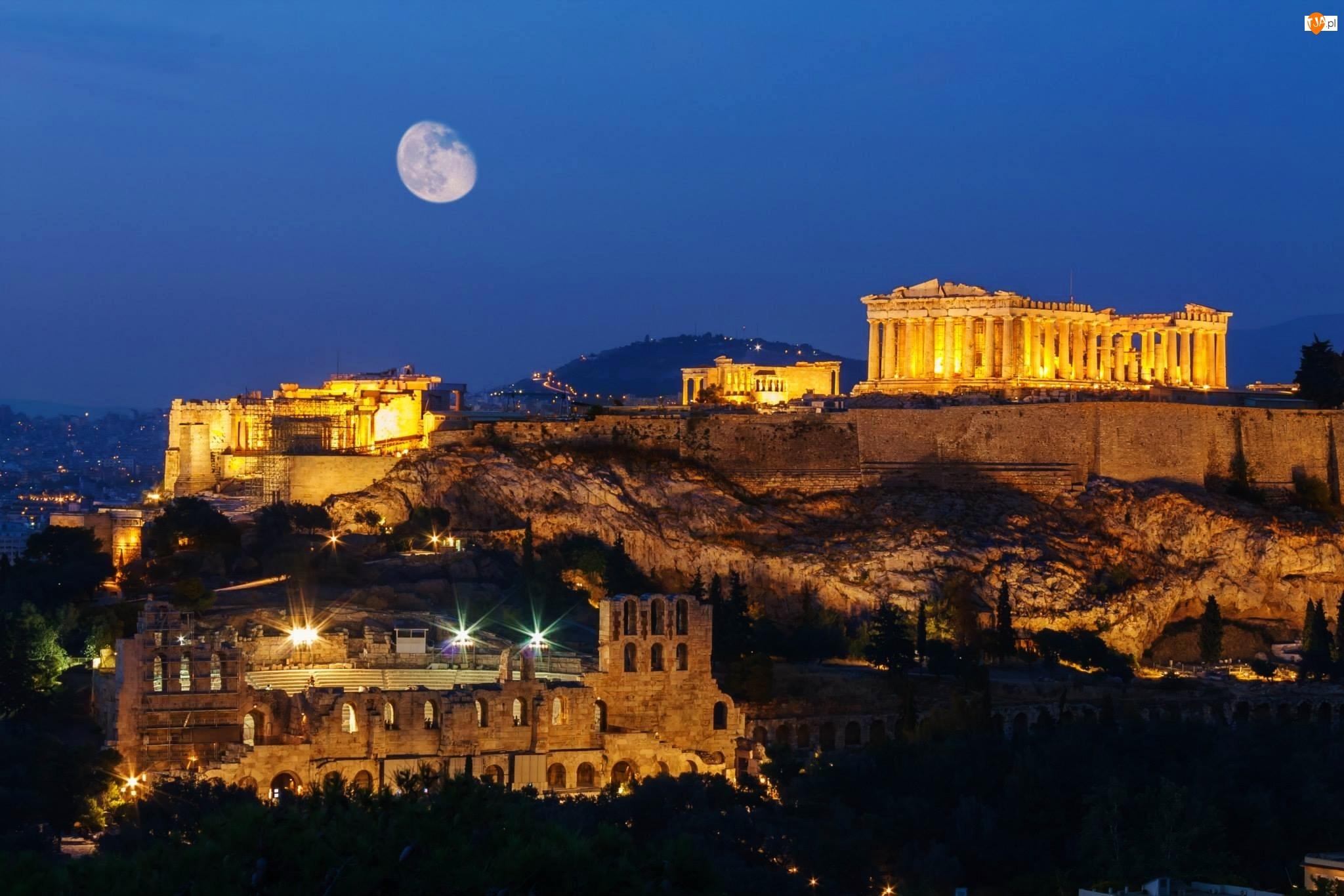 Ruiny, Akropol ateński, Grecja, Noc, Ateny, Księżyc