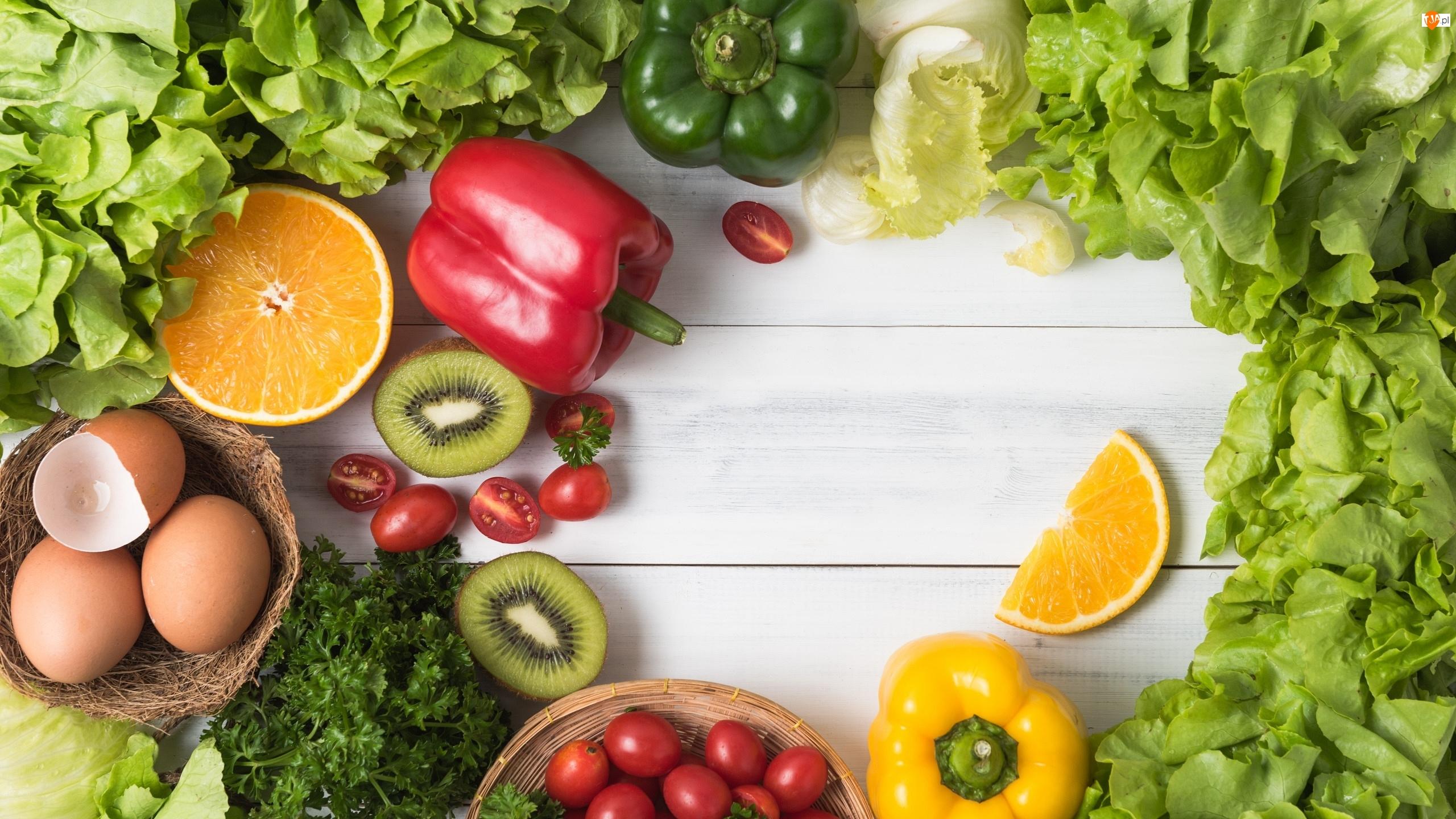 Deski, Owoce, Kiwi, Jajka, Sałata, Warzywa, Pomidorki, Papryka, Koktajlowe, Pomarańcz