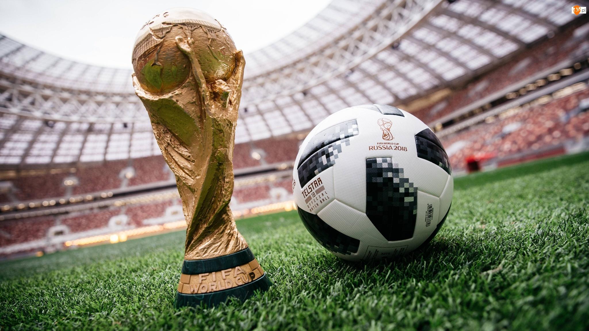 Piłka, Mundial 2018 Rosja, Statuetka, Stadion, Trawa