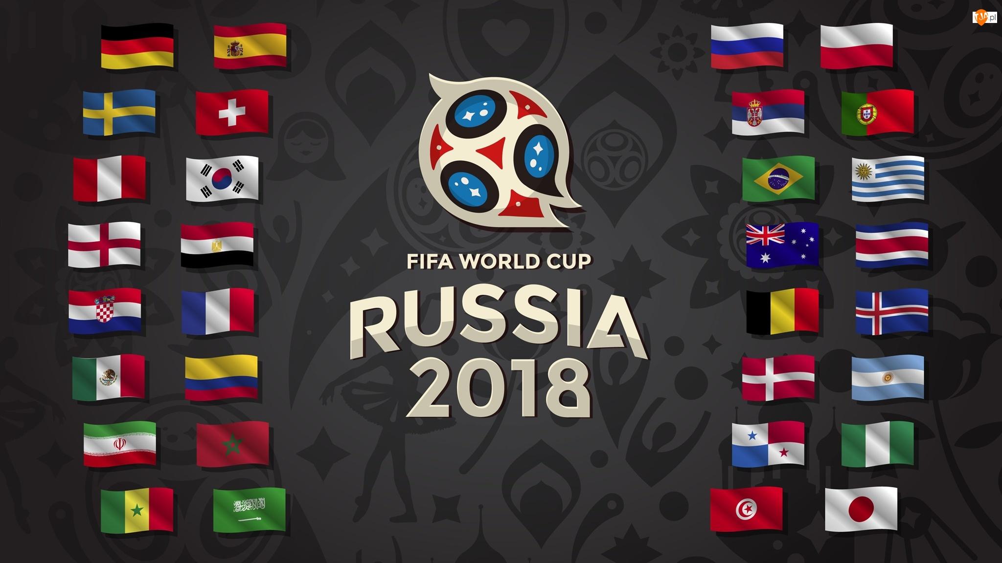 Rosja 2018, Mistrzostwa Świata, Piłka nożna, Logo, Mundial, Flagi
