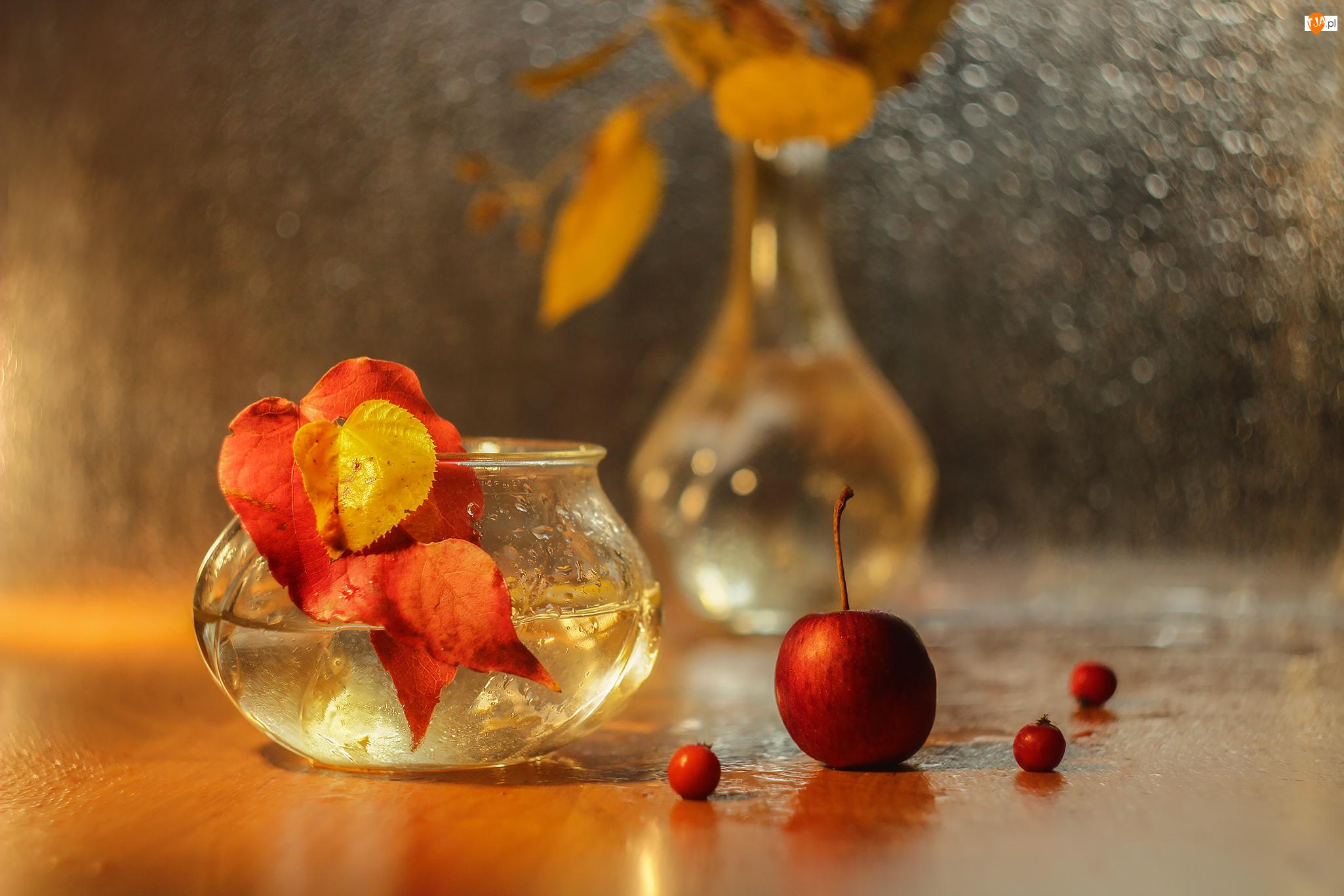 Jabłko, Bokeh, Liście, Czerwone, Wazonik