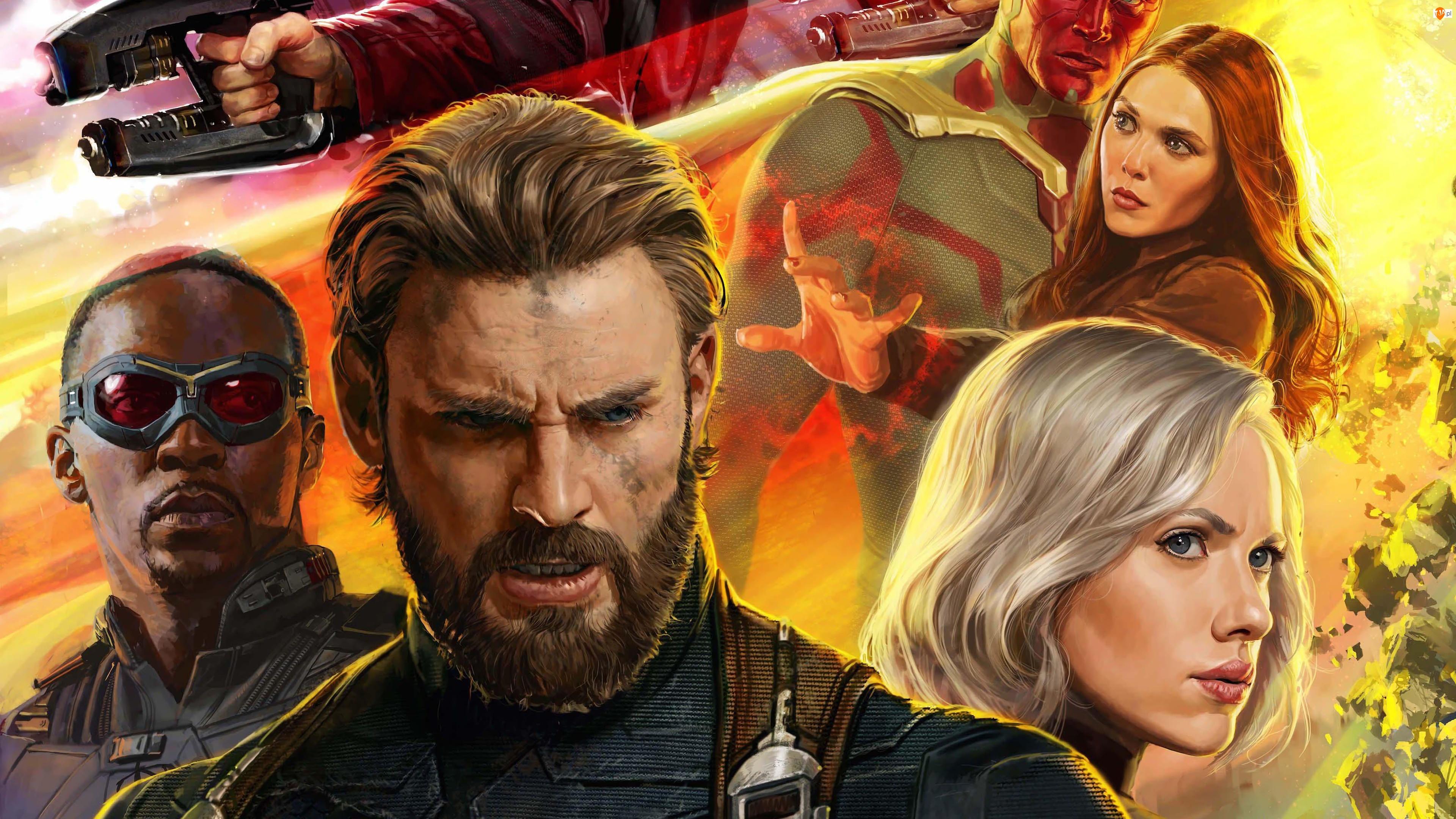 Avengers Wojna bez granic, Avengers Infinity War, Elizabeth Olsen, Film, Scarlett Johansson, Chris Evans, Anthony Mackie