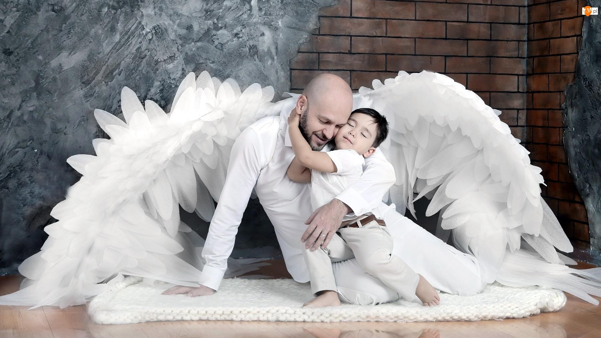 Mężczyzna, Dziecko, Skrzydła, Ojciec, Opiekun, Anioł, Chłopczyk