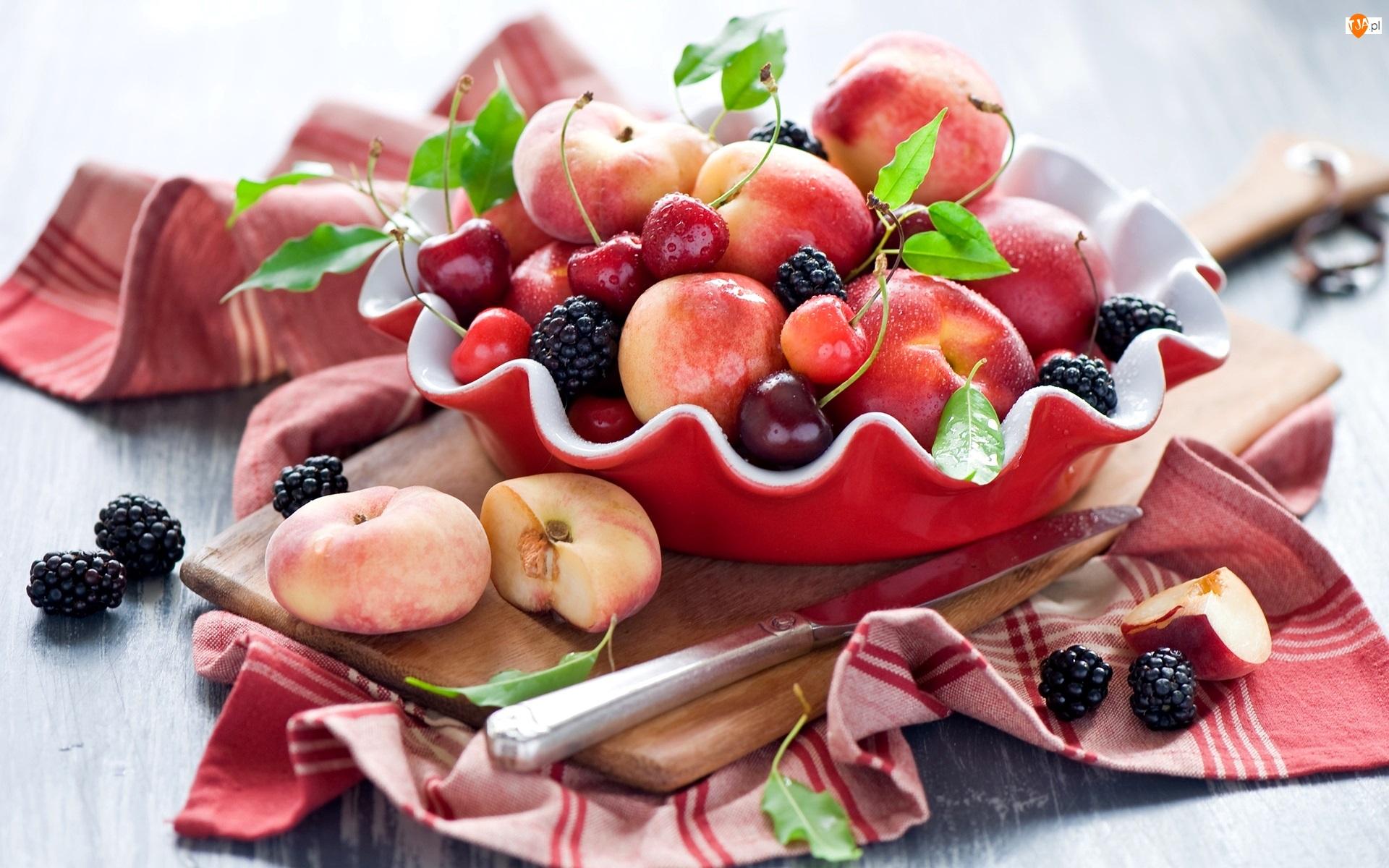 Owoce, Brzoskwinie pen tao, Nóż, Kompozycja, Miseczka, Czereśnie, Jeżyny