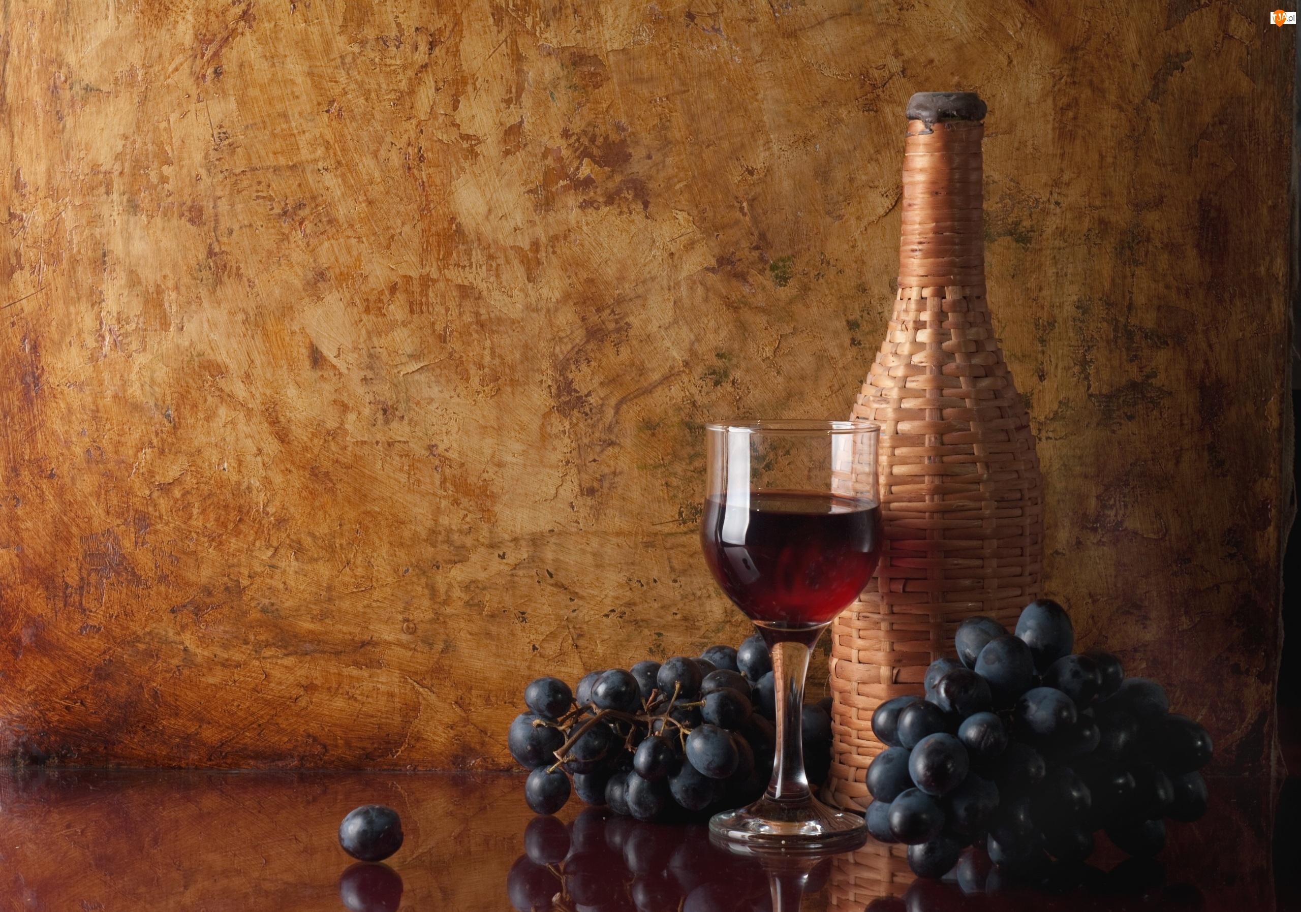 Kieliszek, Wino, Butelka, Winogrona