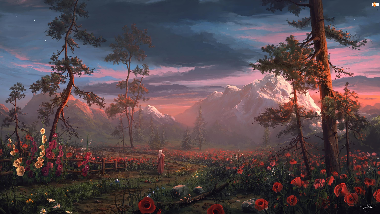 Góry, Drzewa, Postać, Digital Art, Malwy, Maki, Kwiaty