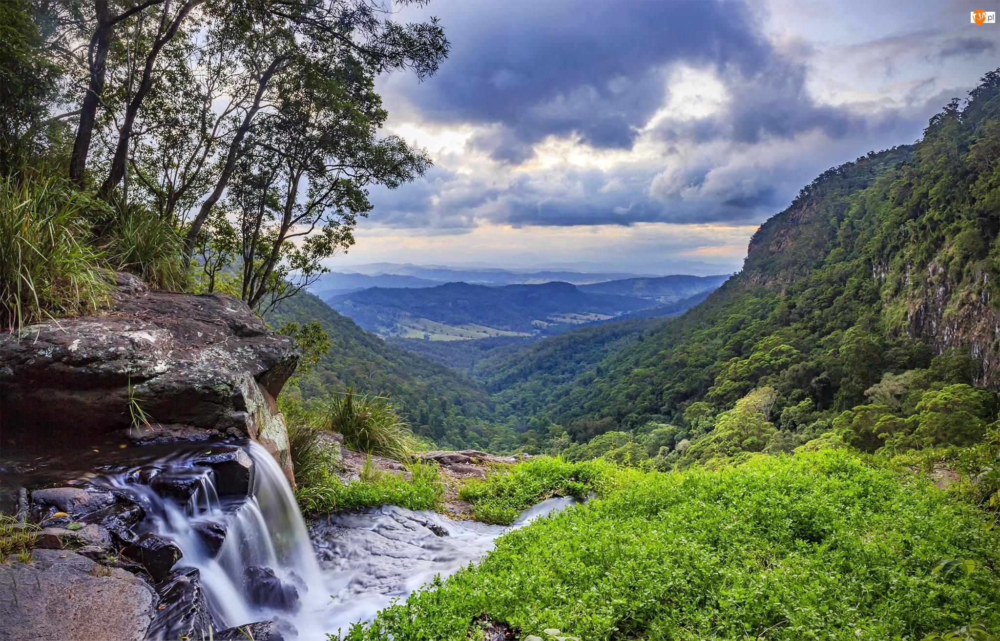Wodospad Morans Falls, Australia, Góry, Drzewa, Queensland, Wzgórze O Reilly, Chmury, Park Narodowy Lamington