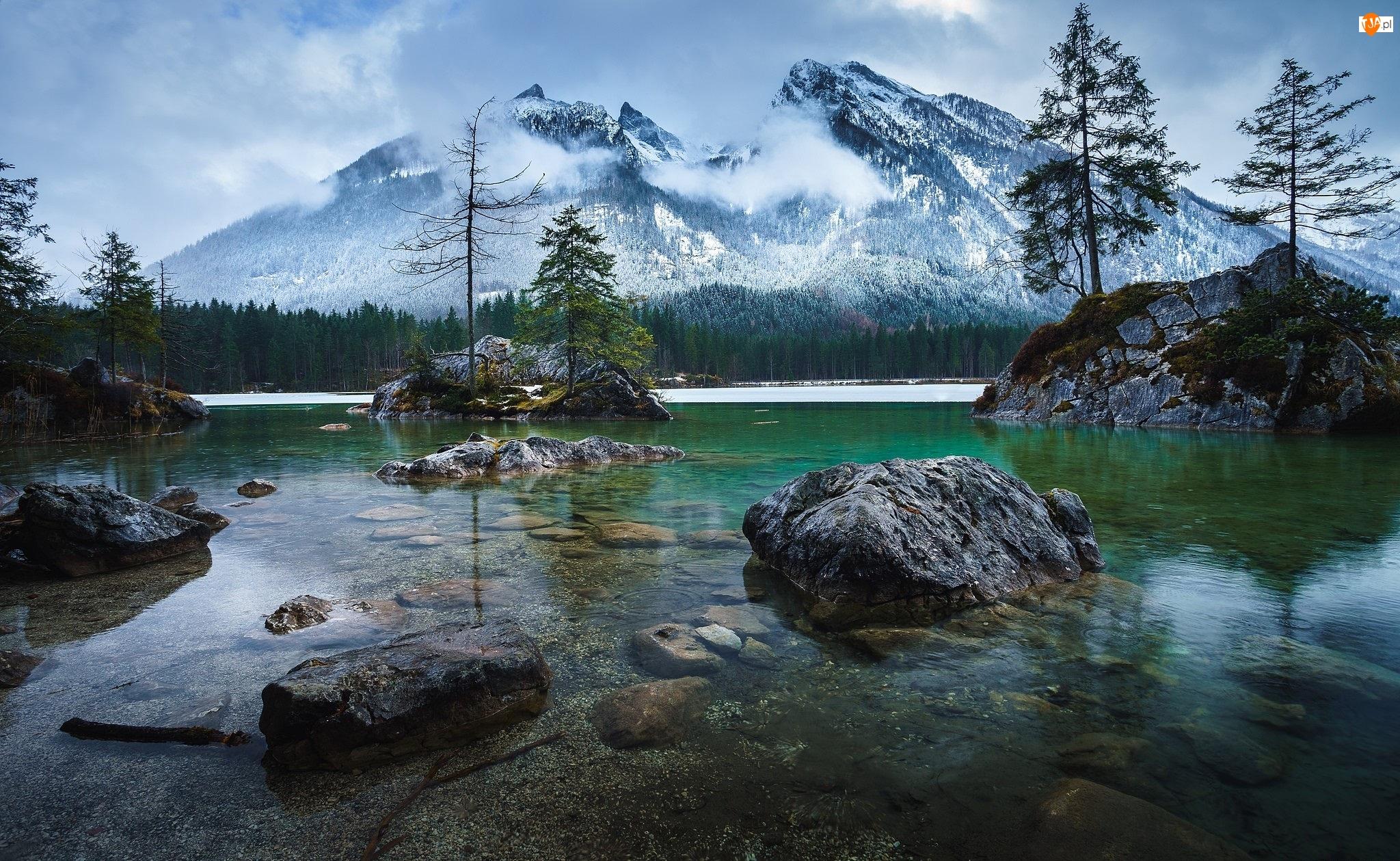 Bawaria, Jezioro Hintersee, Góry, Drzewa, Niemcy, Skały