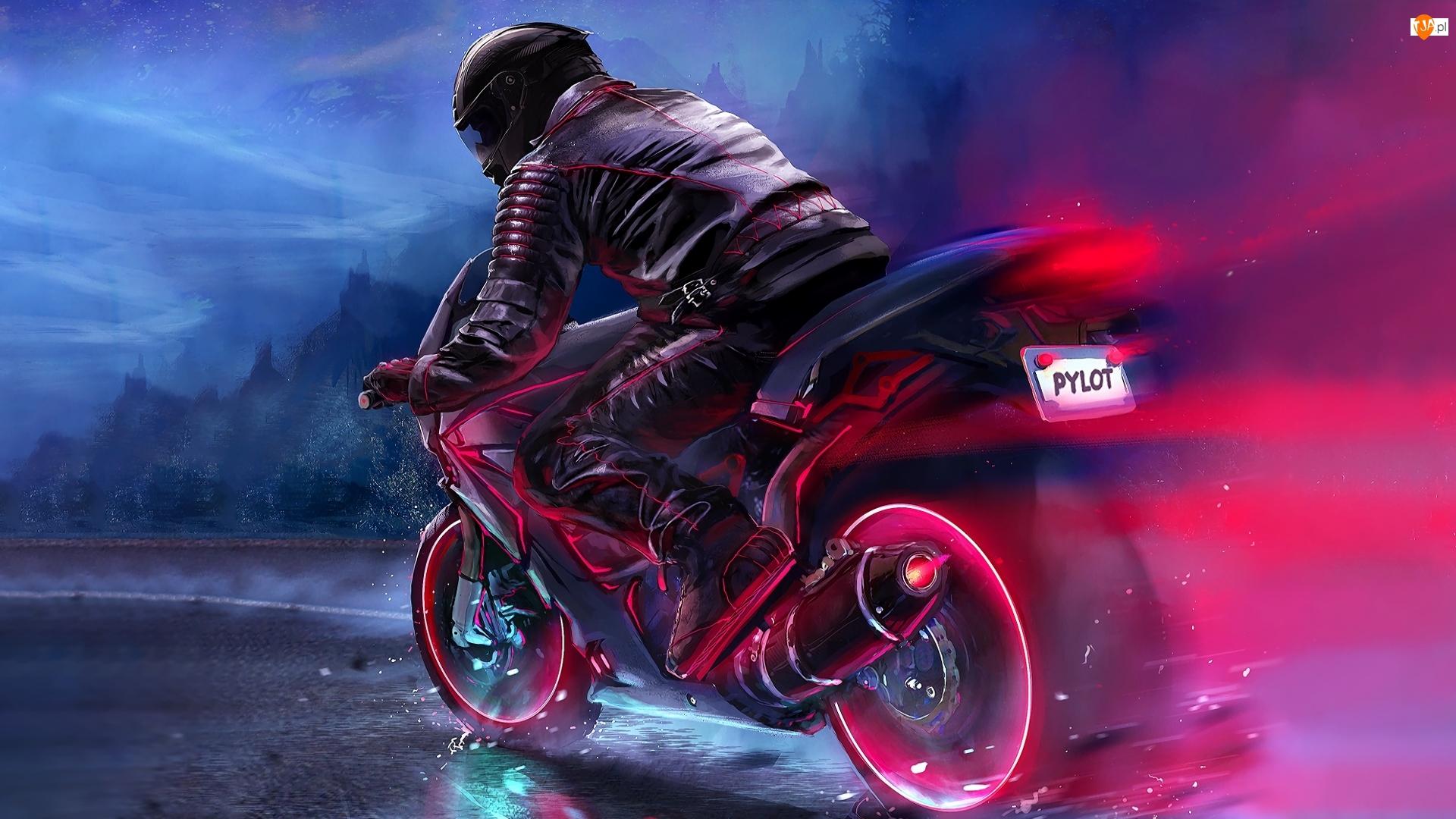 Motocyklista, Pilot, Motocykl, Digital Art, Kask