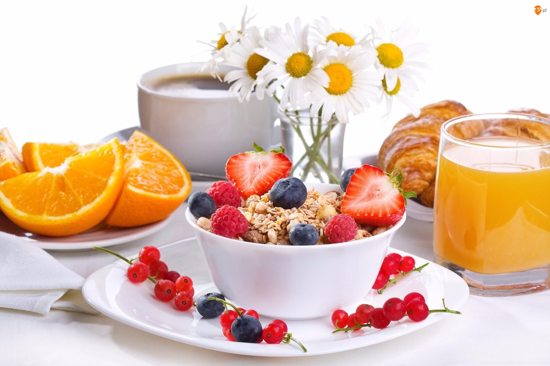 Jedzenie, Pomarańcza, Margerytki, Kwiaty, Bukiet, Sok, Filiżanka, Owoce, Talerzyk