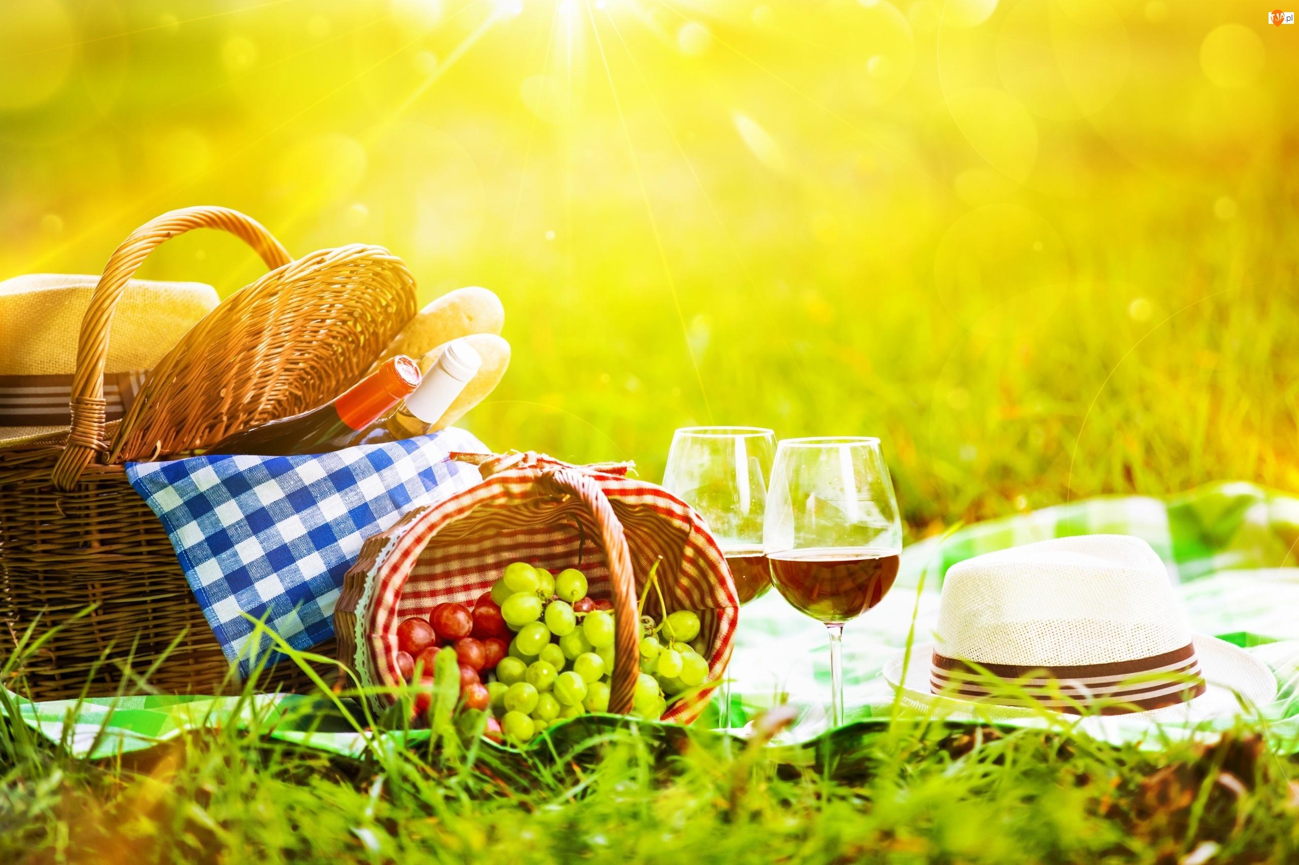 Wino, Koszyki, Kapelusze, Piknik, Słońce, Lato, Winogrona