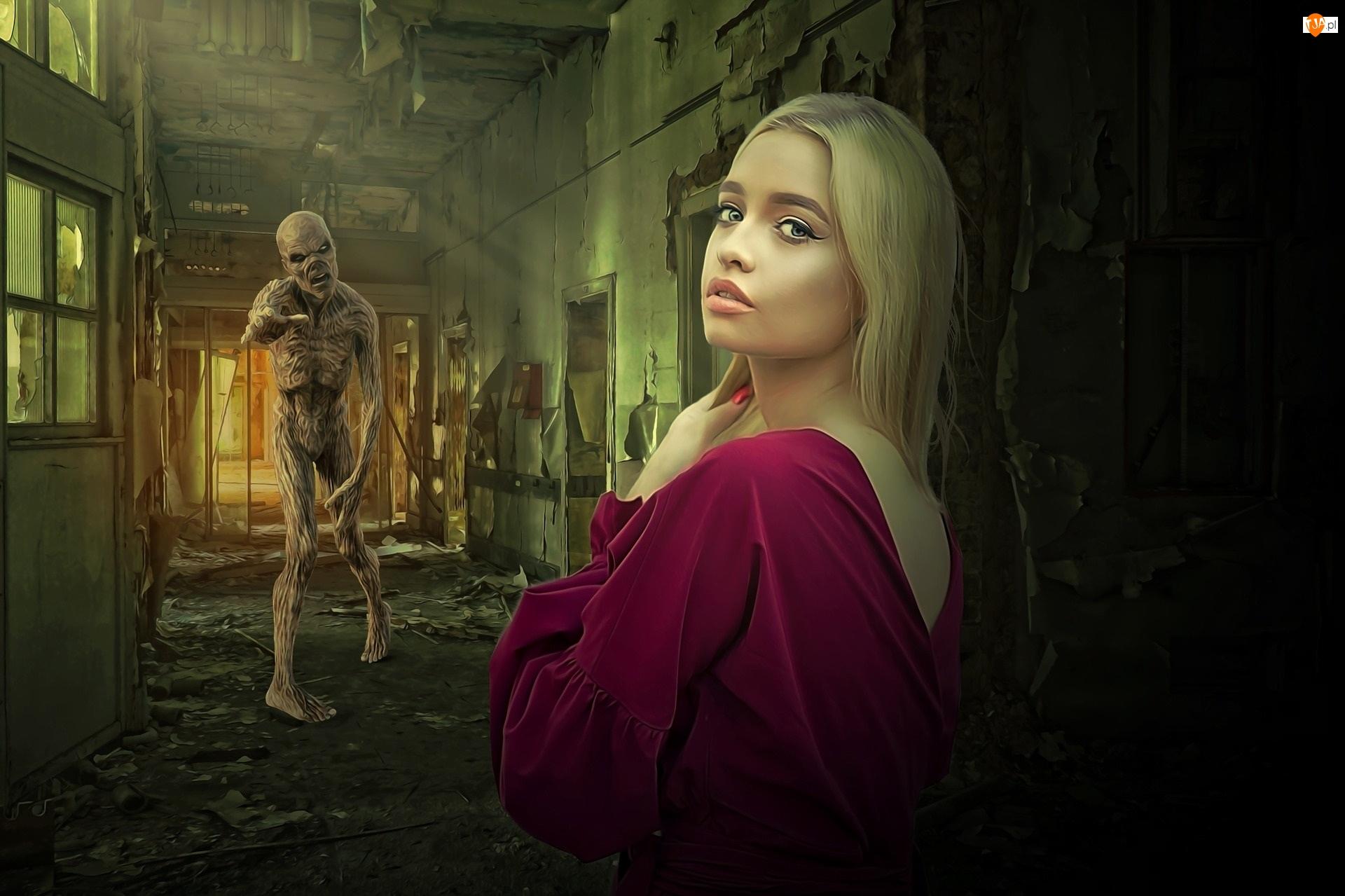 Grafika, Kobieta, Blondynka, Zombie
