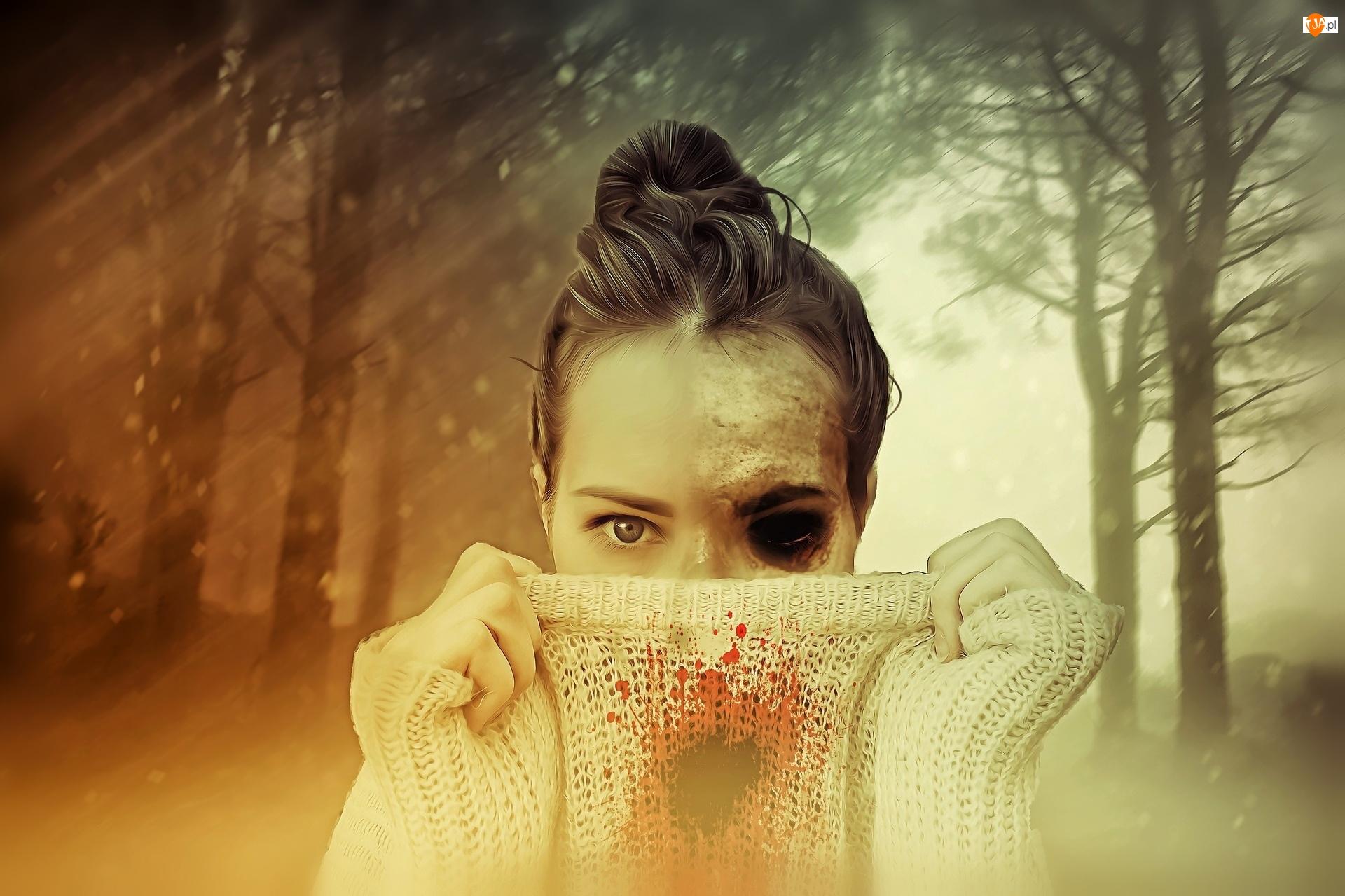 Grafika, Kobieta, Mroczne