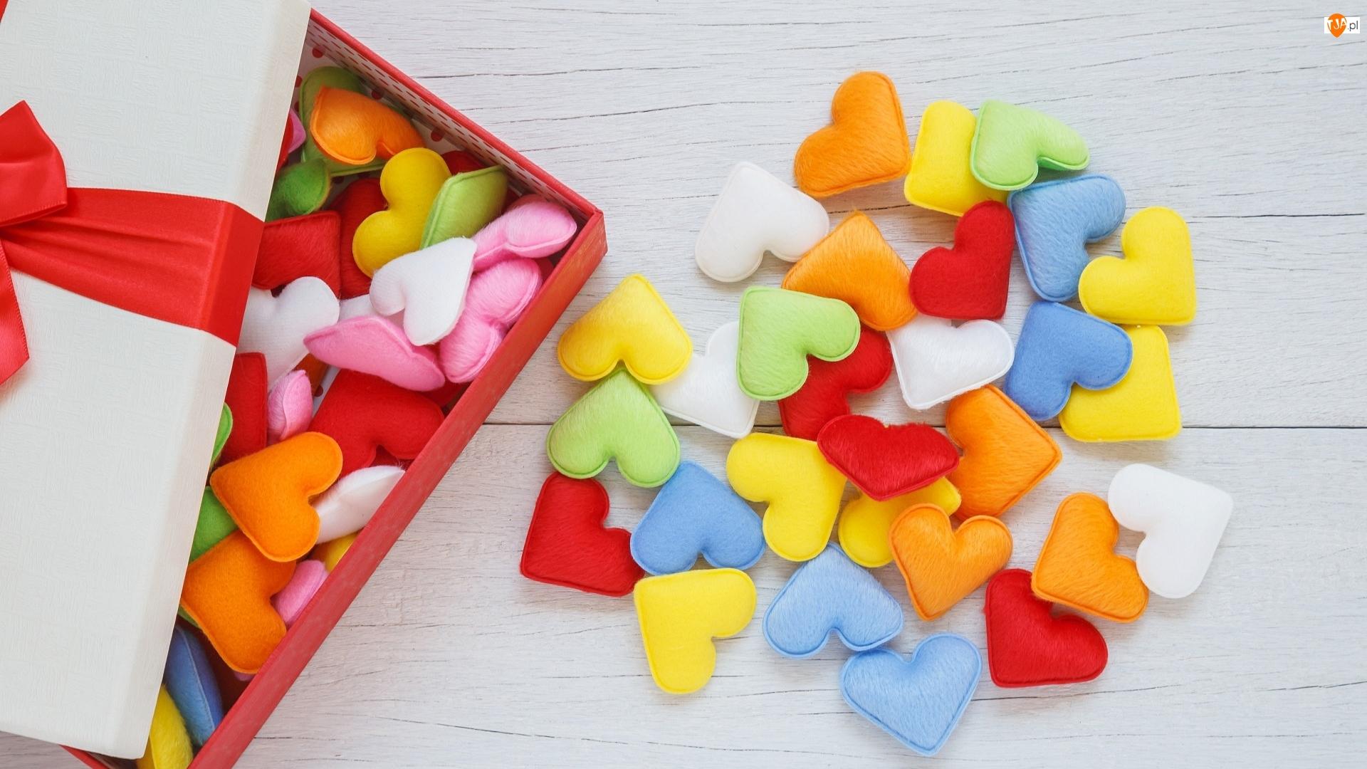 Serduszka, Deski, Kolorowe, Walentynki, Pudełko