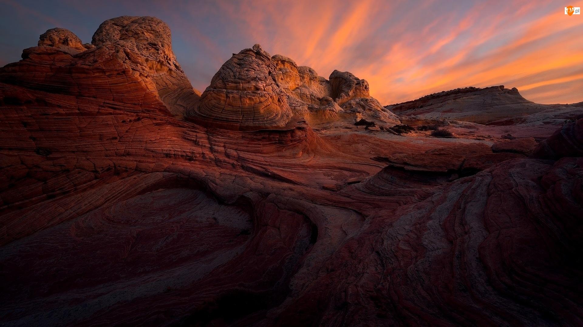 Formacje skalne, White Pocket, Stany Zjednoczone, Skały, Arizona, Pomnik narodowy, Vermilion Cliffs National Monument