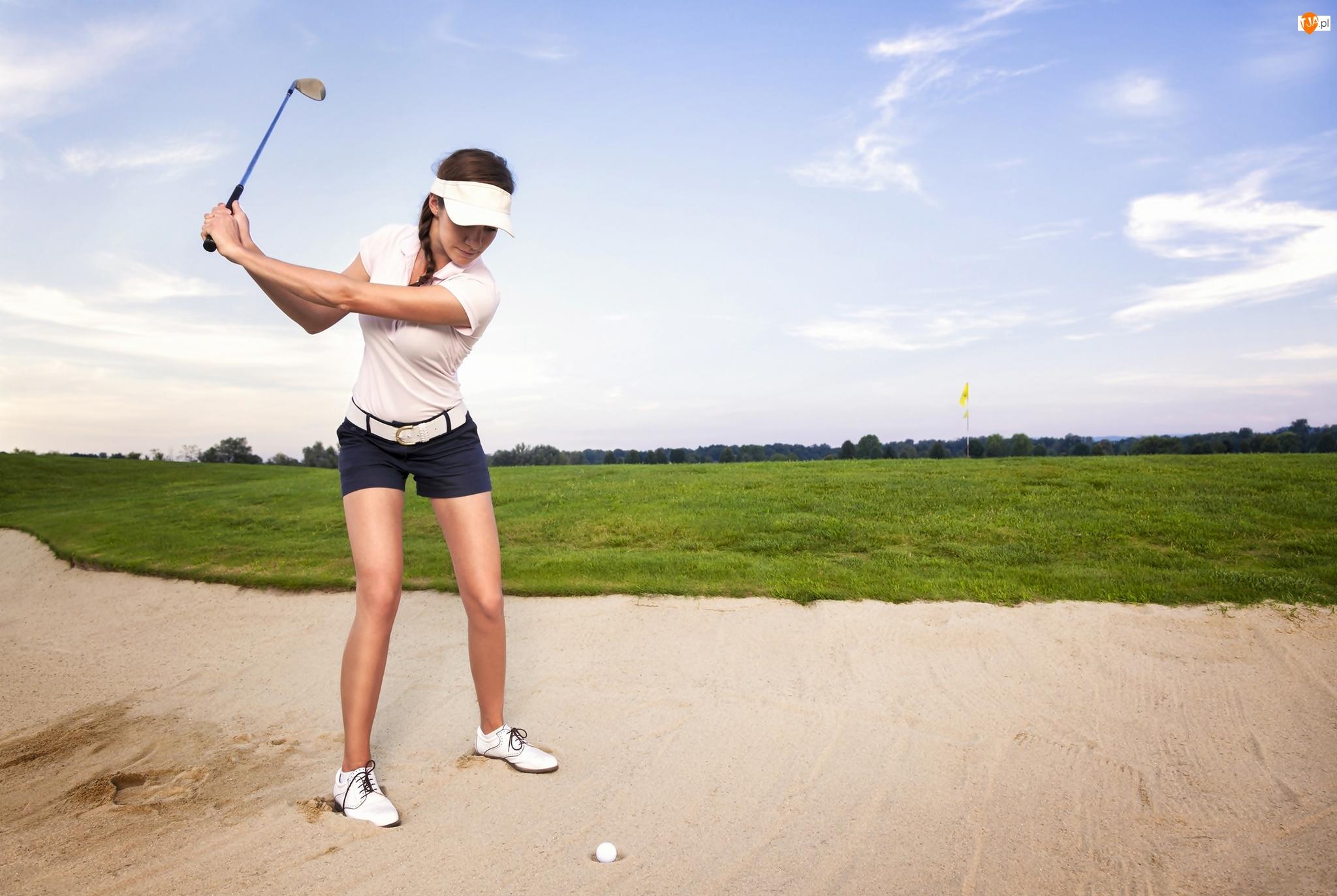 Pole golfowe, Kobieta, Piłka, Golf