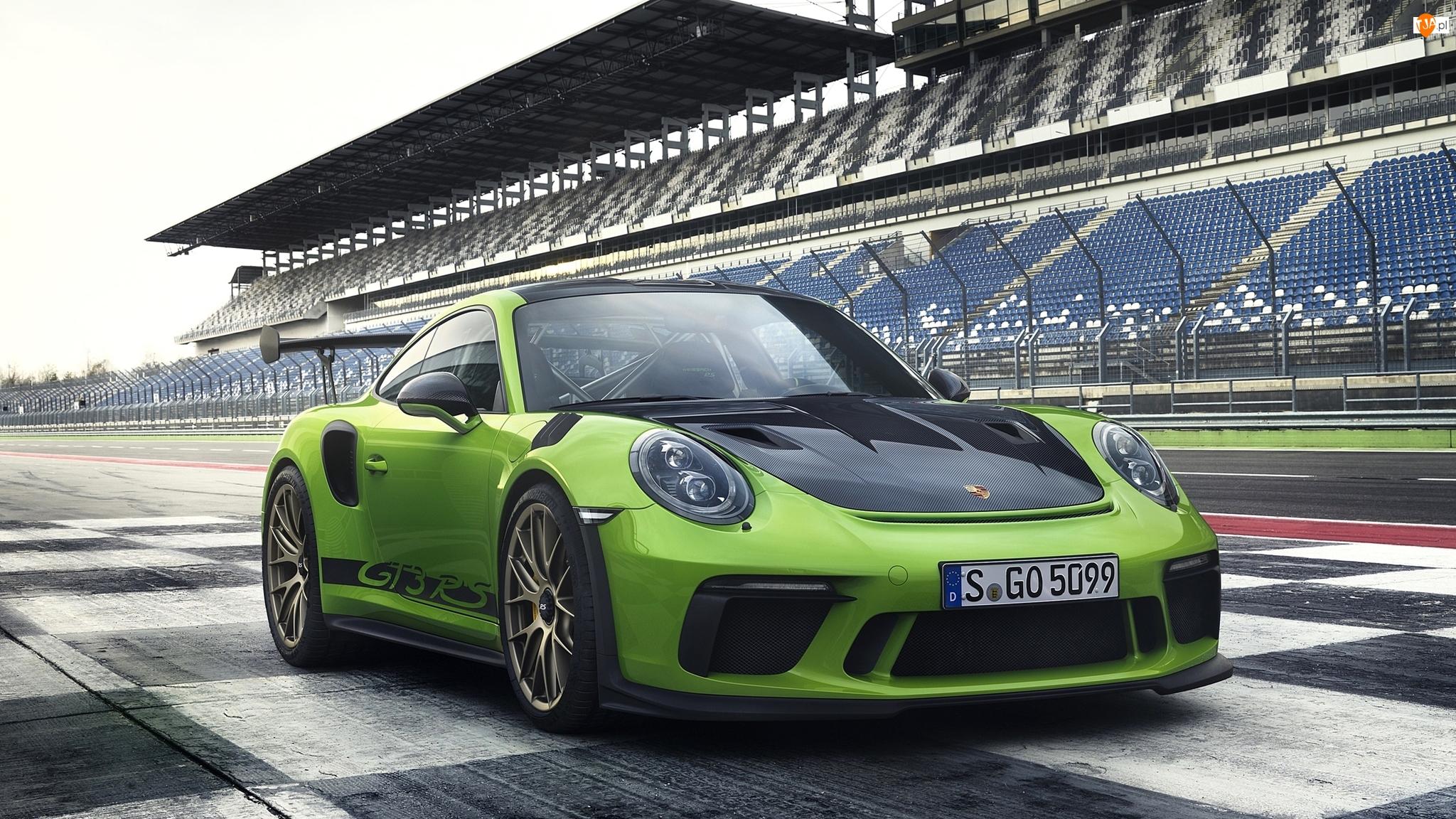 Porsche 911, Zielone, RS, Tor wyścigowy, GT3, 2019