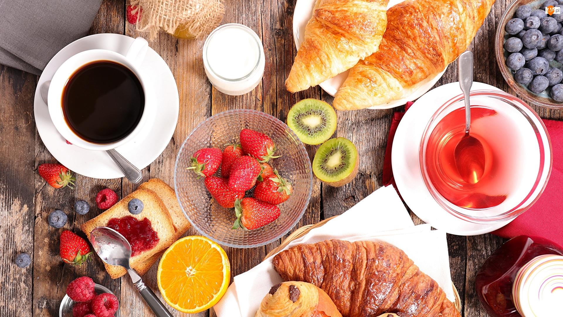 Kawa, Śniadanie, Croissanty, Owoce, Rogaliki, Truskawki