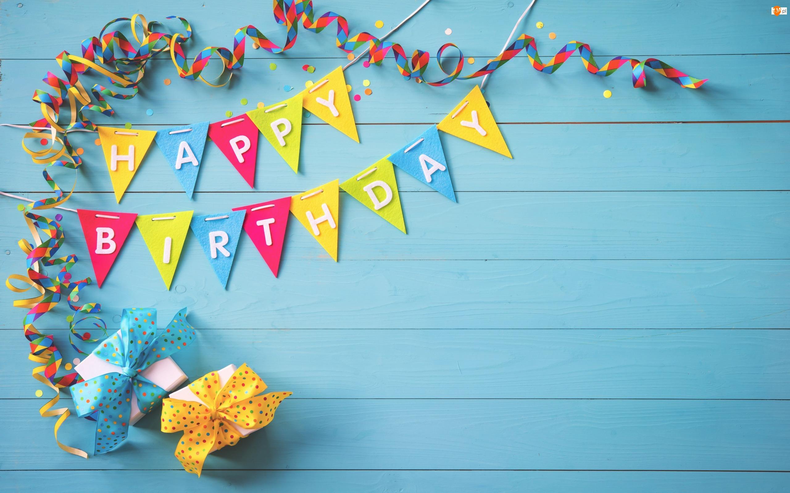 Happy Birthday, Prezenty, Urodzinowe, Życzenia, Serpentyny