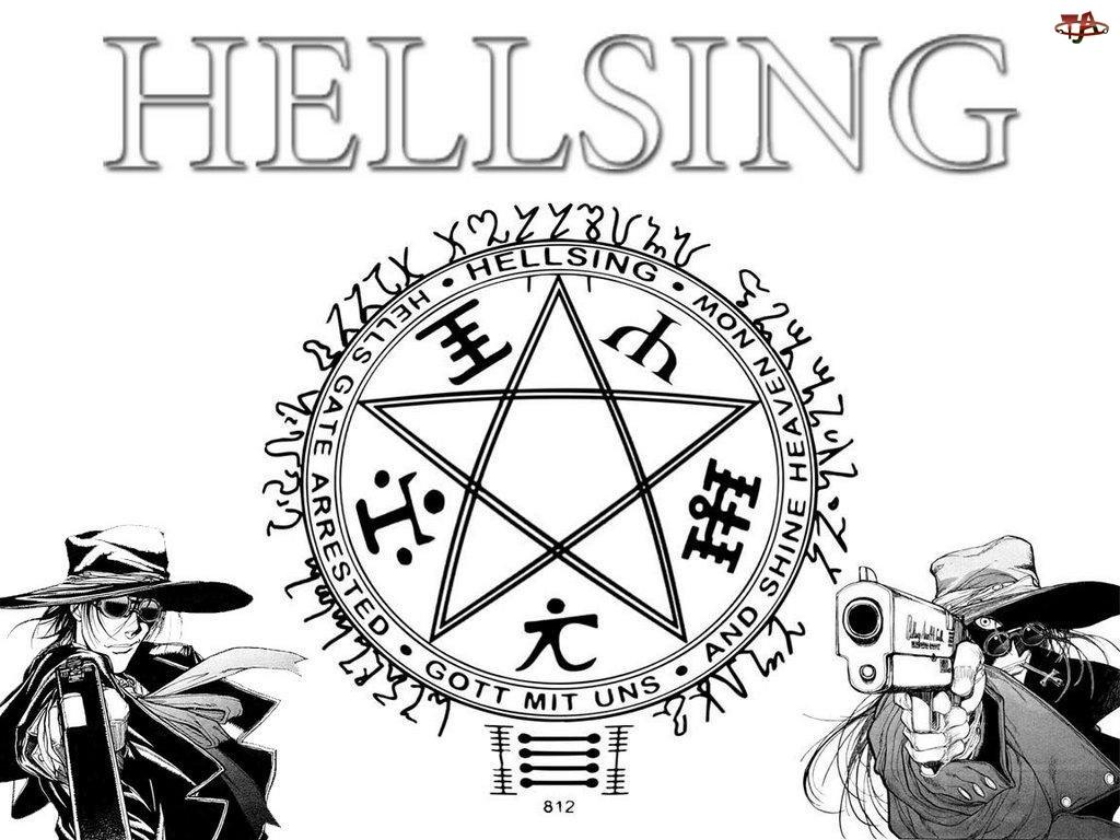 kapelusz, Hellsing, pentagram, ludzie, pistolet