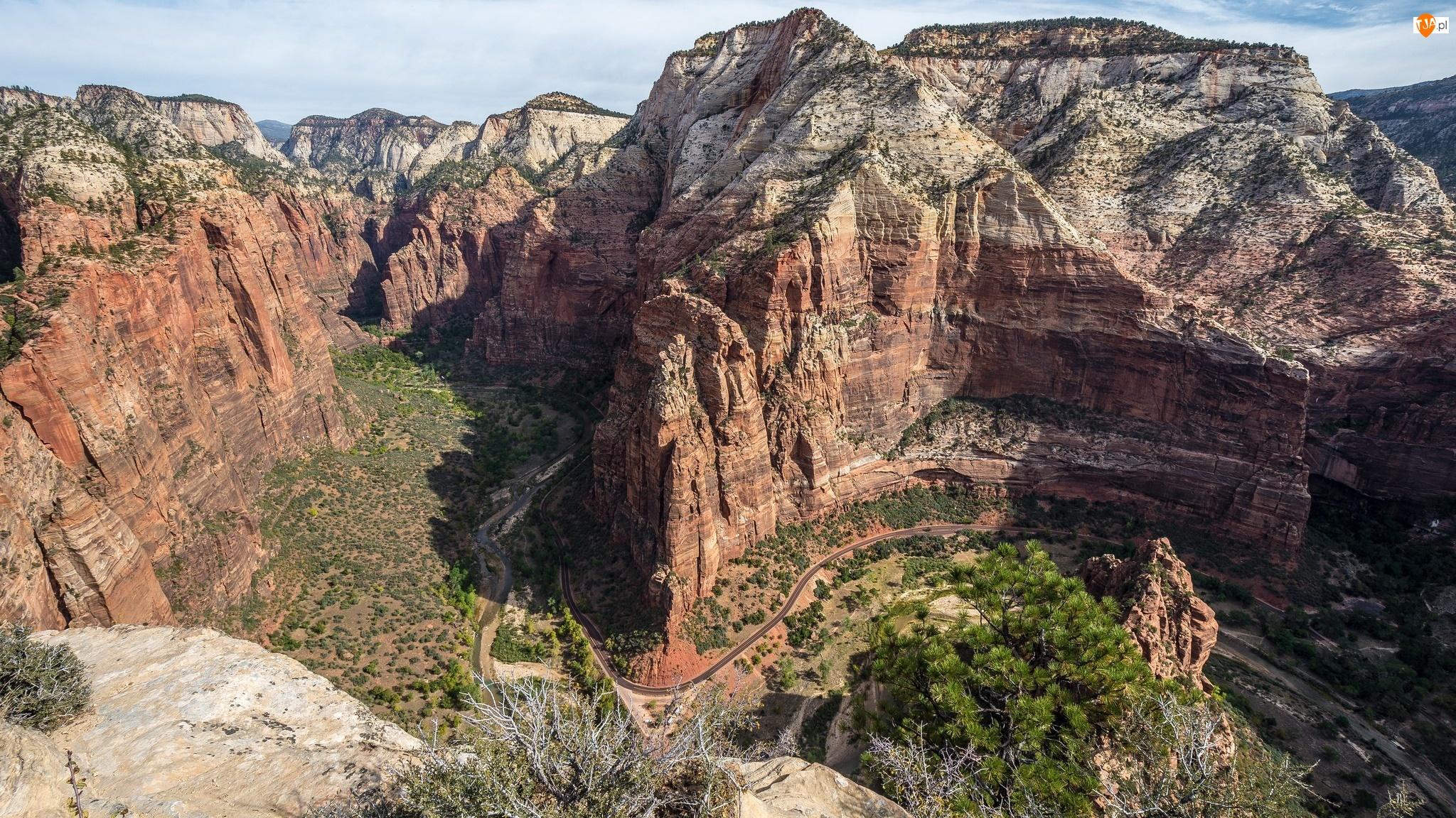 Skały, Kanion, Park Narodowy Zion, Stan Utah, Formacja skalna Angels Landing, Góry, Stany Zjednoczone, Podest Aniołów
