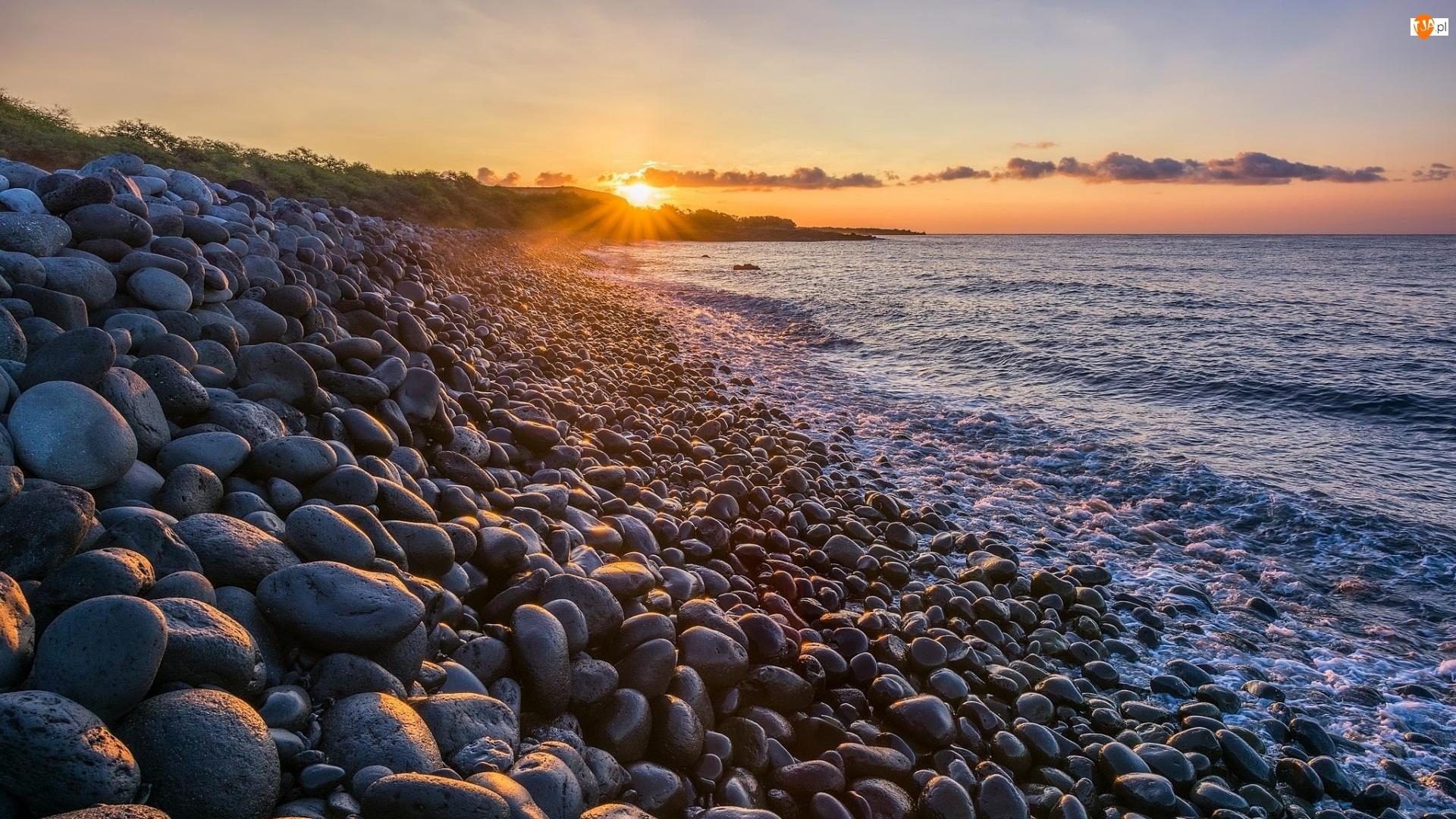 Zachód słońca, Brzeg, Morze, Kamienie