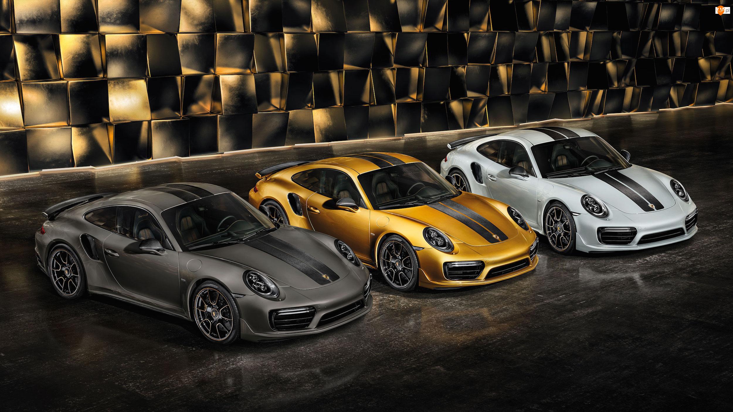 Czarny, Biały, Porsche 911 Turbo S Exclusive, Trzy, Złoty